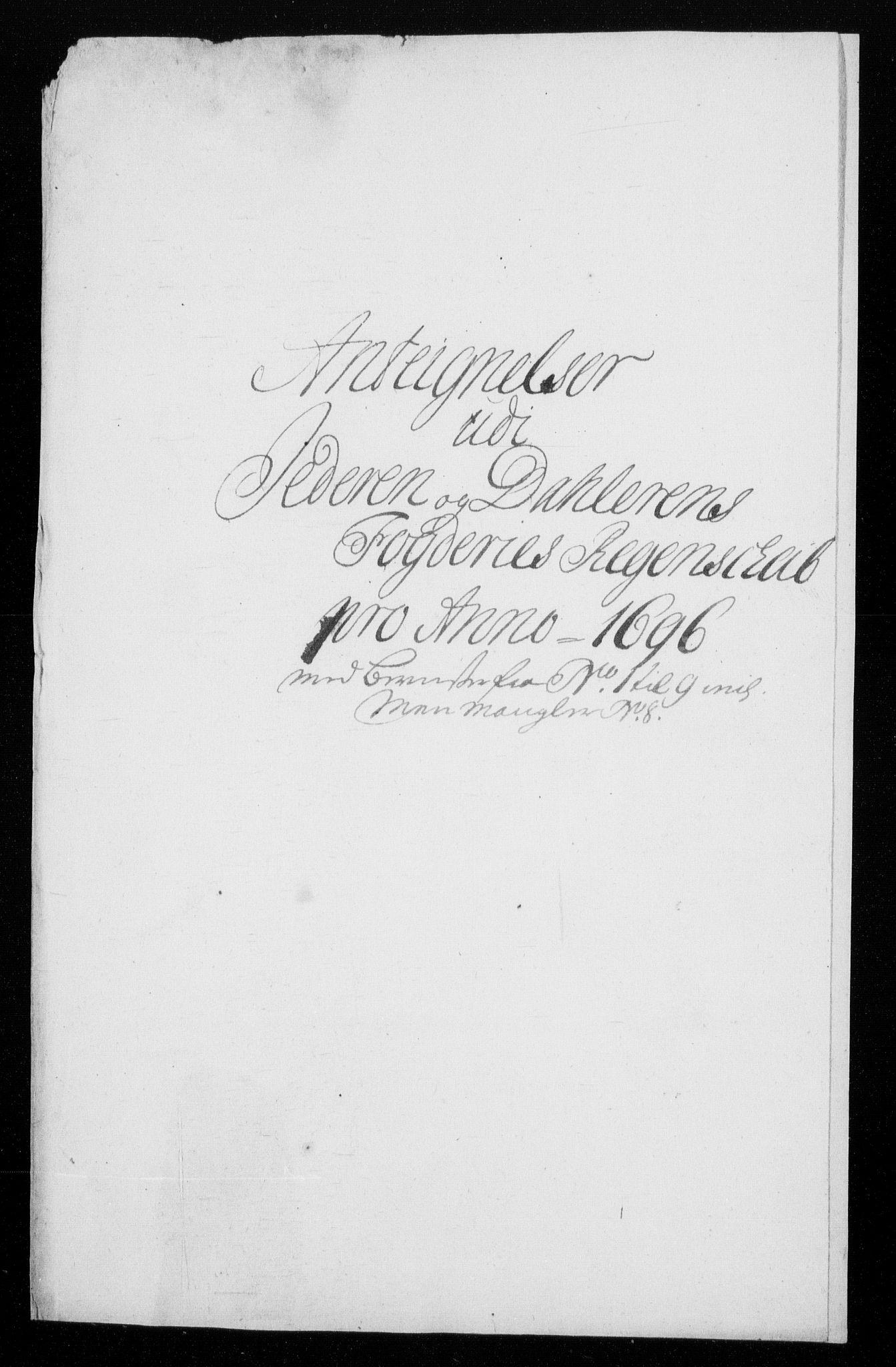 RA, Rentekammeret inntil 1814, Reviderte regnskaper, Fogderegnskap, R46/L2728: Fogderegnskap Jæren og Dalane, 1694-1696, s. 520