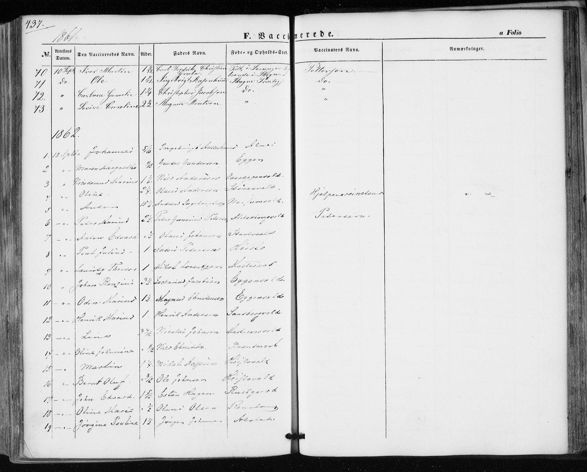 SAT, Ministerialprotokoller, klokkerbøker og fødselsregistre - Nord-Trøndelag, 717/L0154: Ministerialbok nr. 717A07 /1, 1850-1862, s. 437
