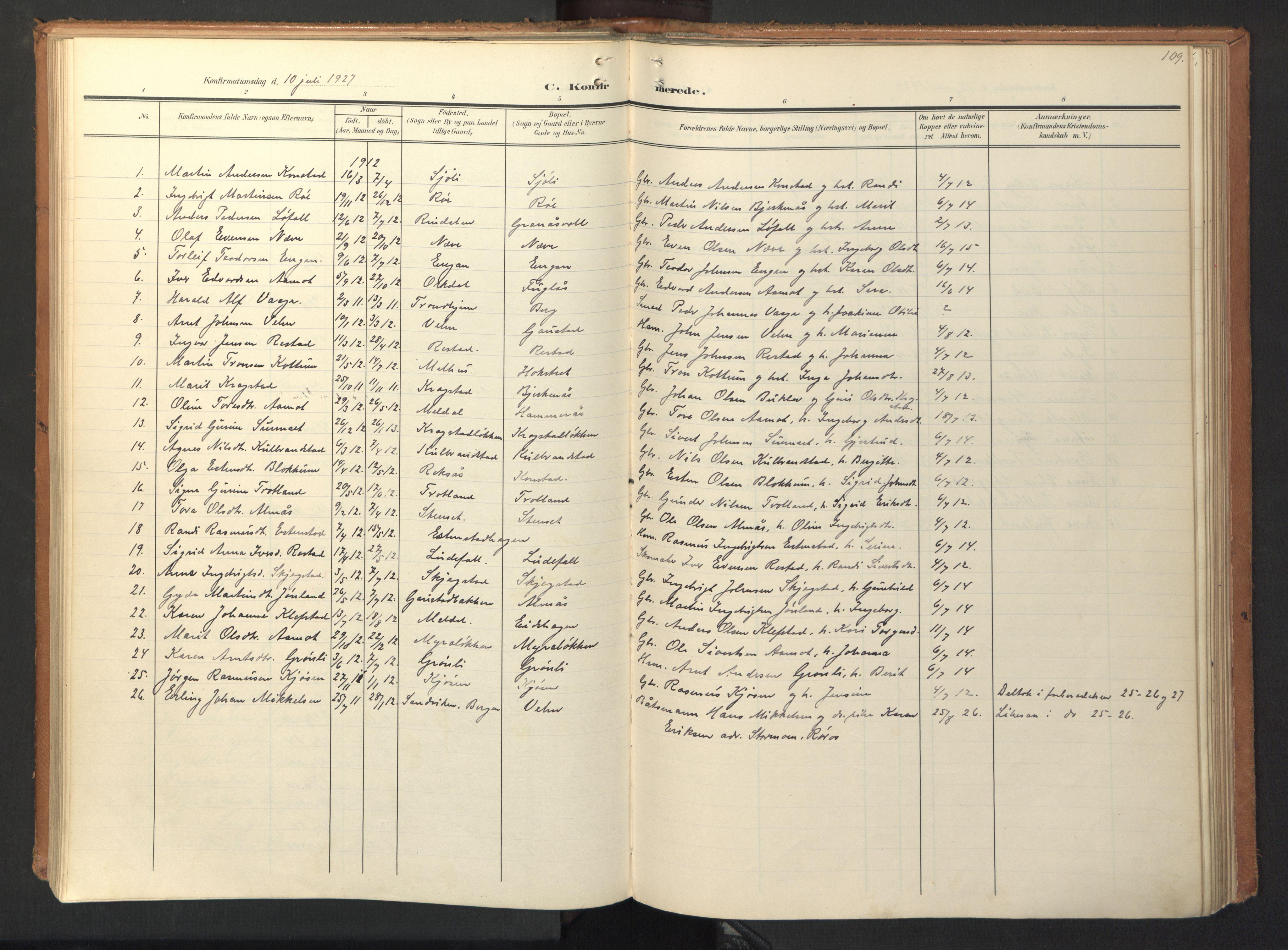 SAT, Ministerialprotokoller, klokkerbøker og fødselsregistre - Sør-Trøndelag, 694/L1128: Ministerialbok nr. 694A02, 1906-1931, s. 109