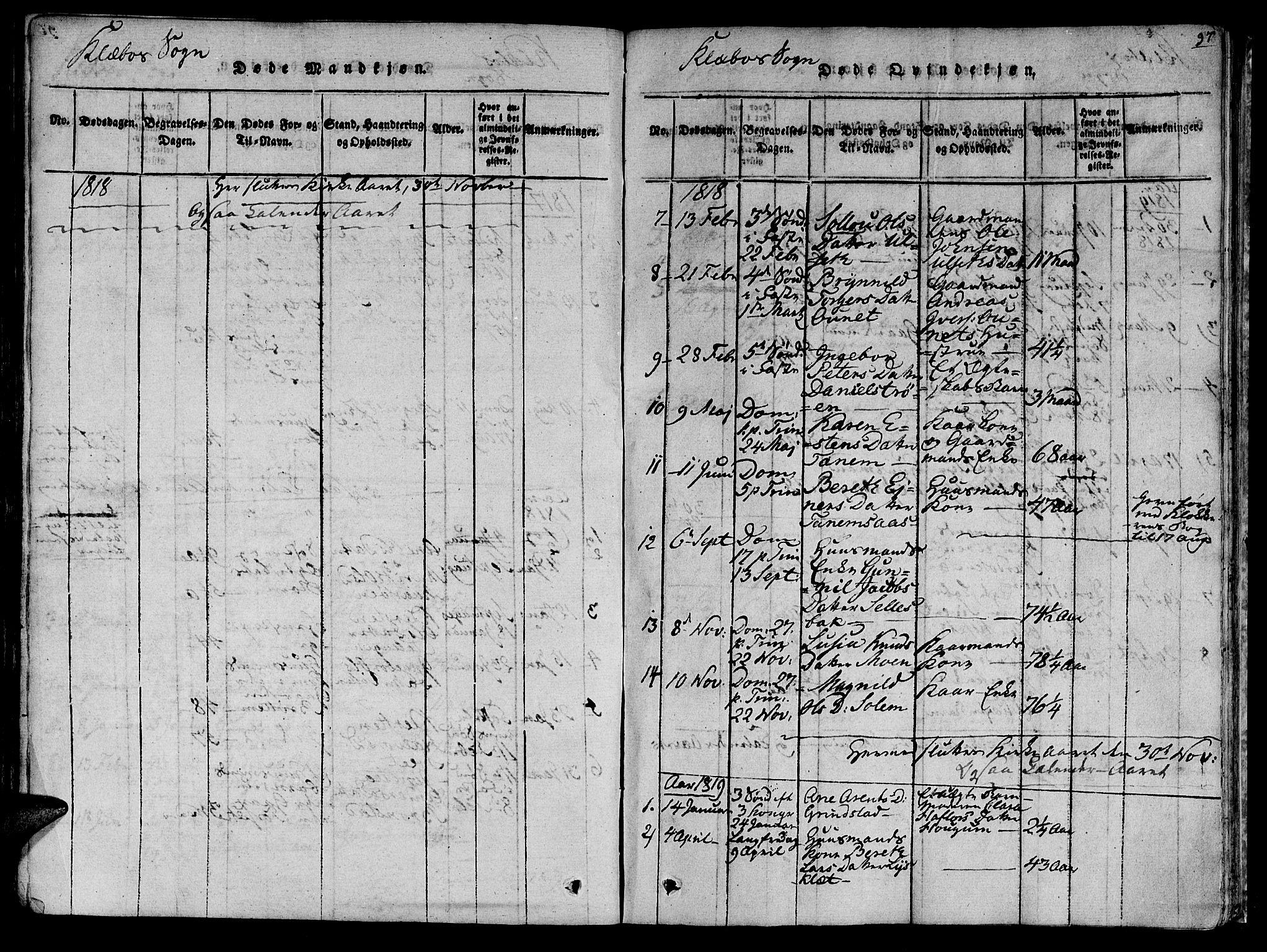 SAT, Ministerialprotokoller, klokkerbøker og fødselsregistre - Sør-Trøndelag, 618/L0439: Ministerialbok nr. 618A04 /1, 1816-1843, s. 97