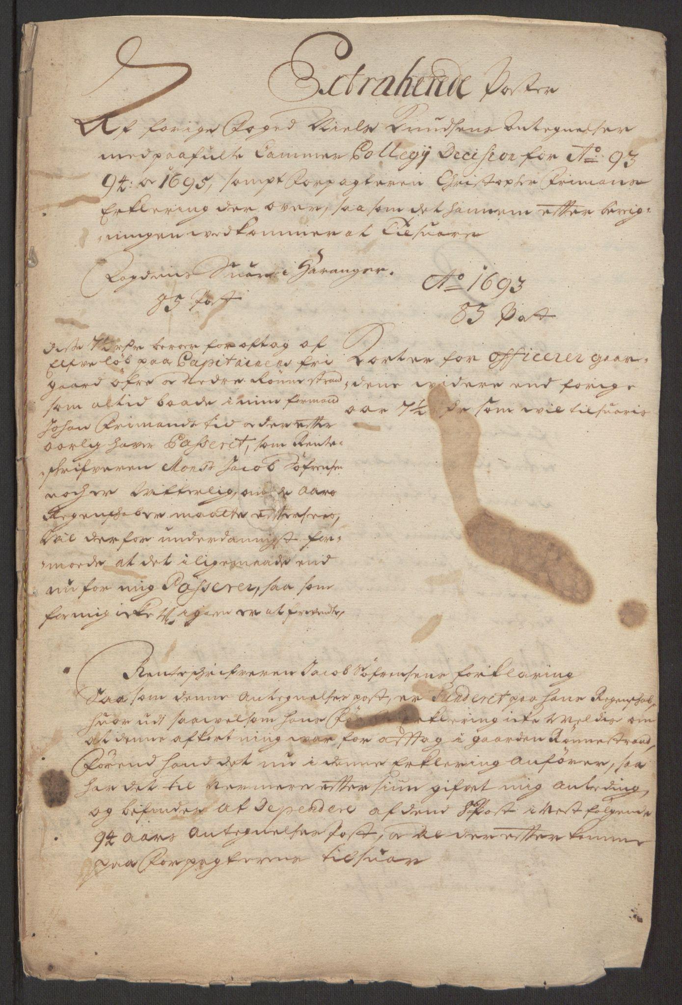 RA, Rentekammeret inntil 1814, Reviderte regnskaper, Fogderegnskap, R48/L2976: Fogderegnskap Sunnhordland og Hardanger, 1695-1696, s. 226
