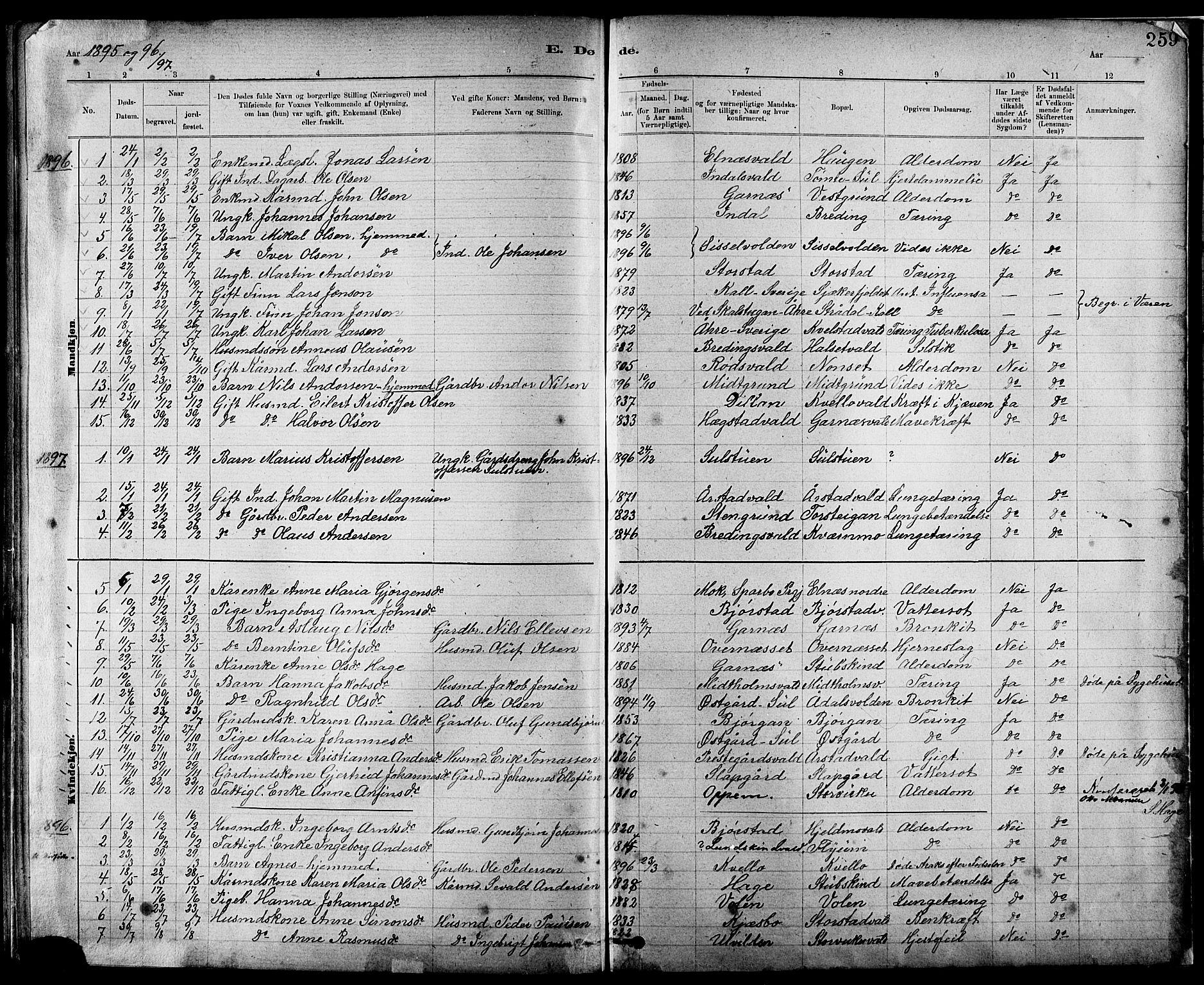 SAT, Ministerialprotokoller, klokkerbøker og fødselsregistre - Nord-Trøndelag, 724/L0267: Klokkerbok nr. 724C03, 1879-1898, s. 259