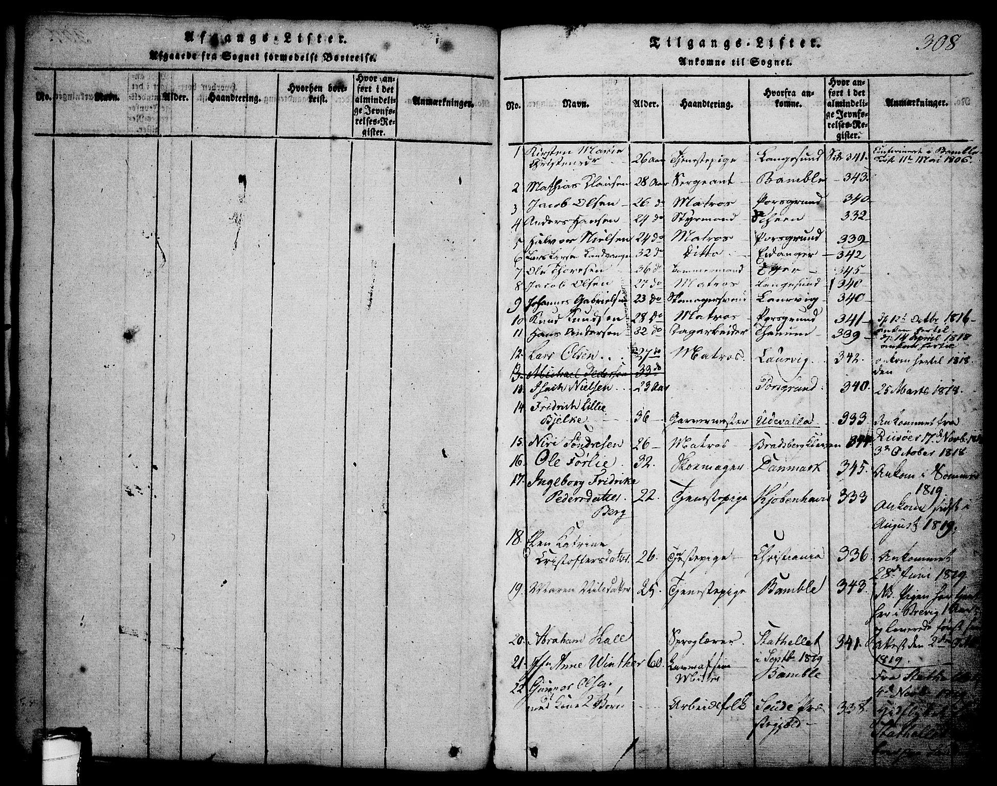SAKO, Brevik kirkebøker, G/Ga/L0001: Klokkerbok nr. 1, 1814-1845, s. 308