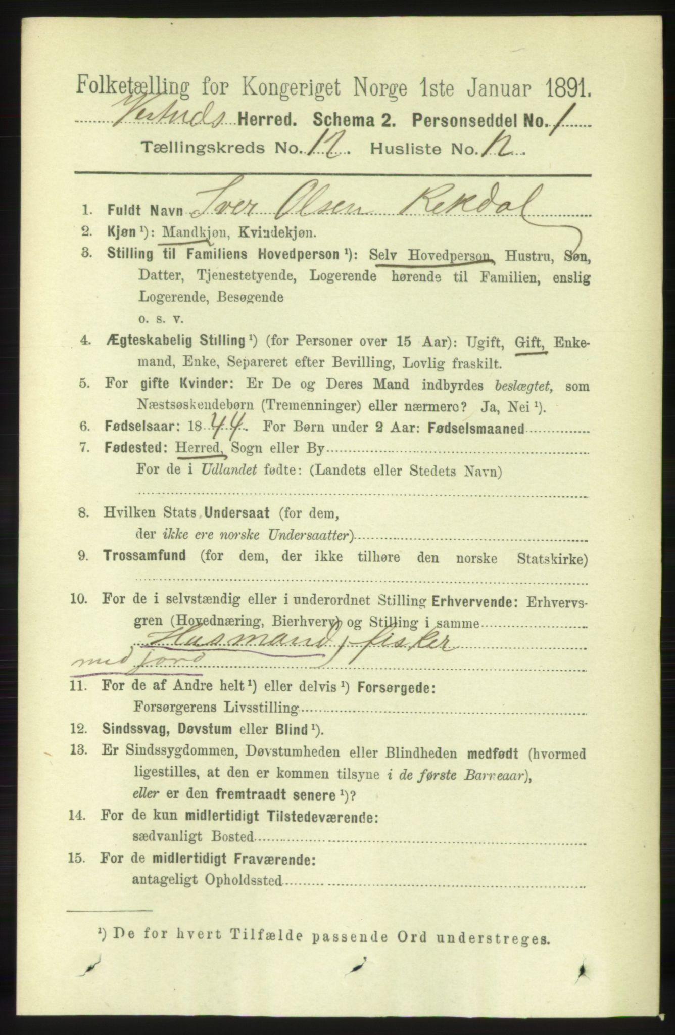 RA, Folketelling 1891 for 1535 Vestnes herred, 1891, s. 4475