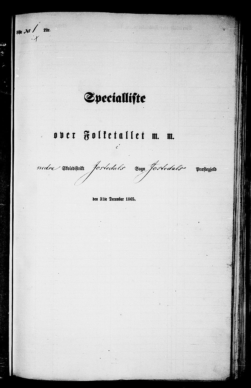 RA, Folketelling 1865 for 1427P Jostedal prestegjeld, 1865, s. 11