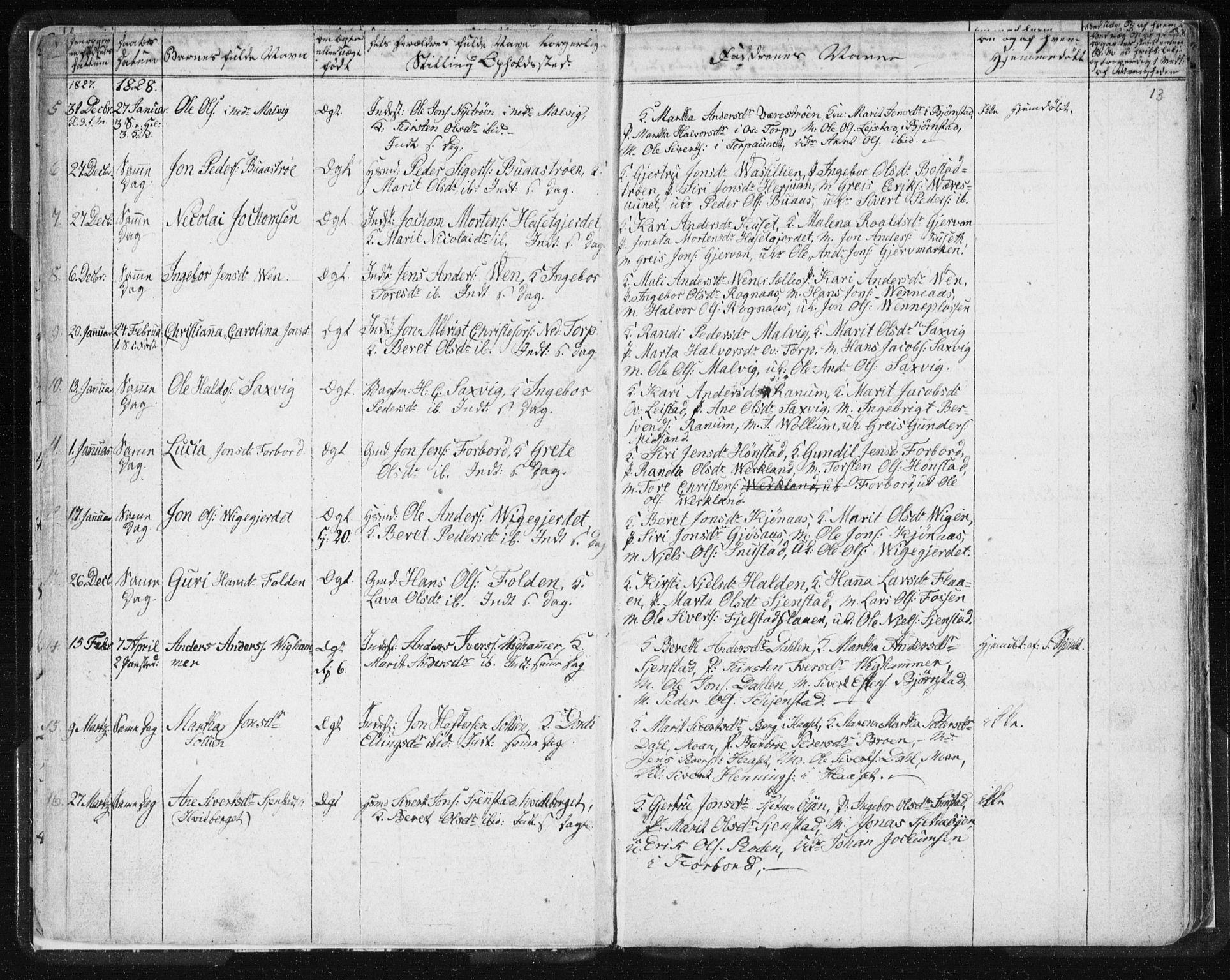 SAT, Ministerialprotokoller, klokkerbøker og fødselsregistre - Sør-Trøndelag, 616/L0404: Ministerialbok nr. 616A01, 1823-1831, s. 13
