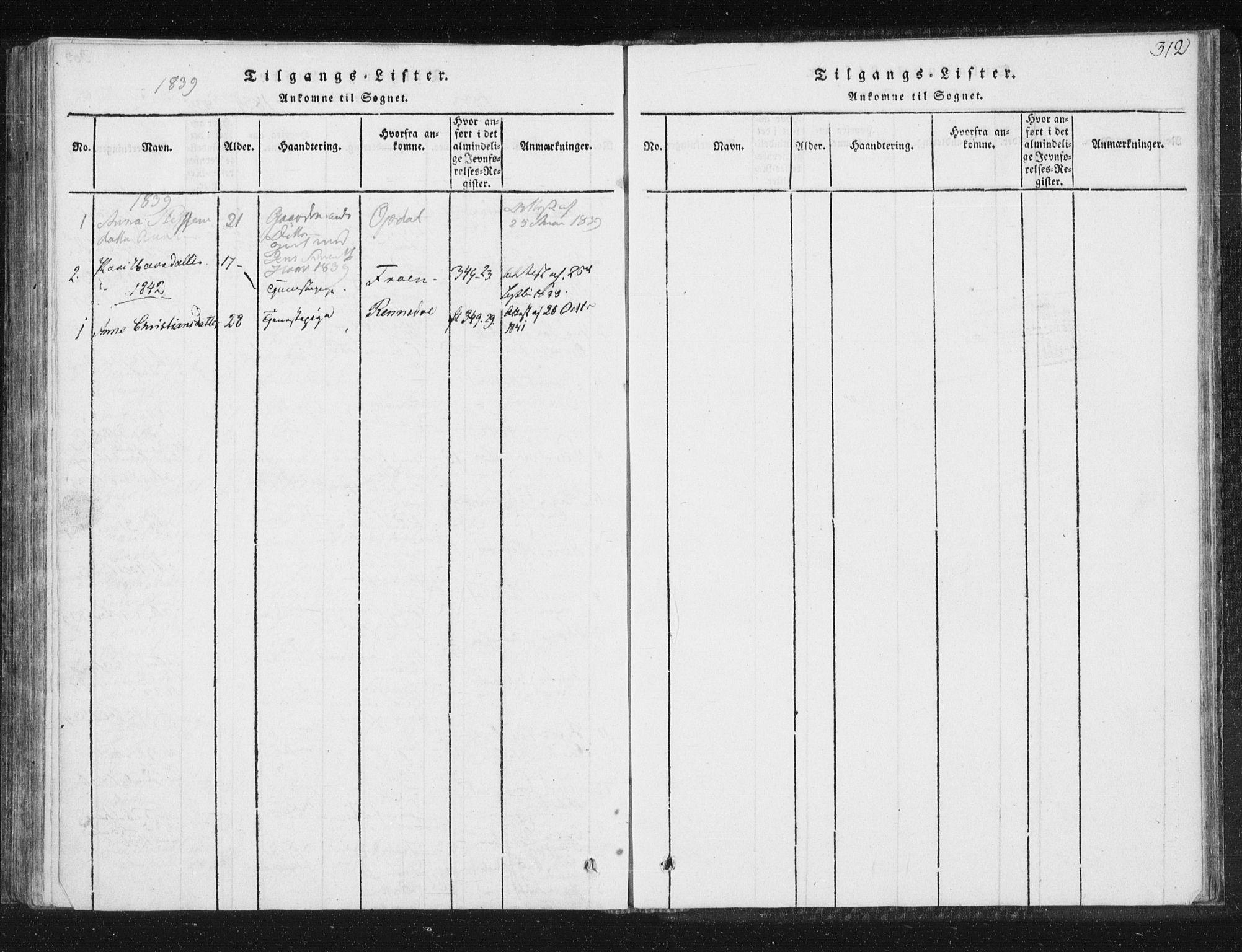 SAT, Ministerialprotokoller, klokkerbøker og fødselsregistre - Sør-Trøndelag, 689/L1037: Ministerialbok nr. 689A02, 1816-1842, s. 312