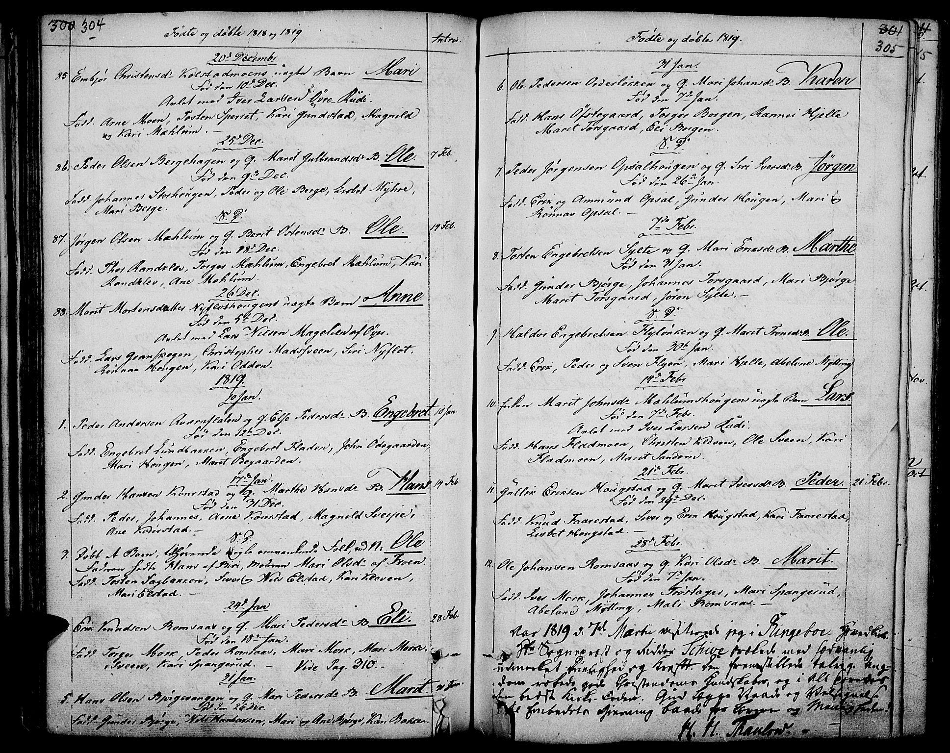 SAH, Ringebu prestekontor, Ministerialbok nr. 3, 1781-1820, s. 304-305