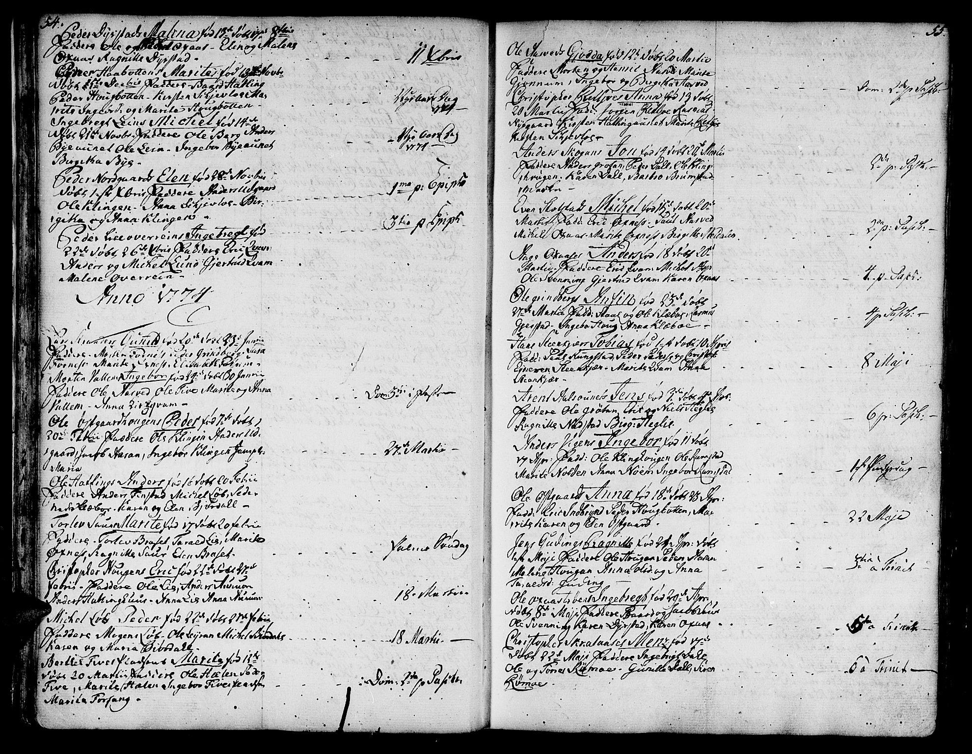 SAT, Ministerialprotokoller, klokkerbøker og fødselsregistre - Nord-Trøndelag, 746/L0440: Ministerialbok nr. 746A02, 1760-1815, s. 54-55