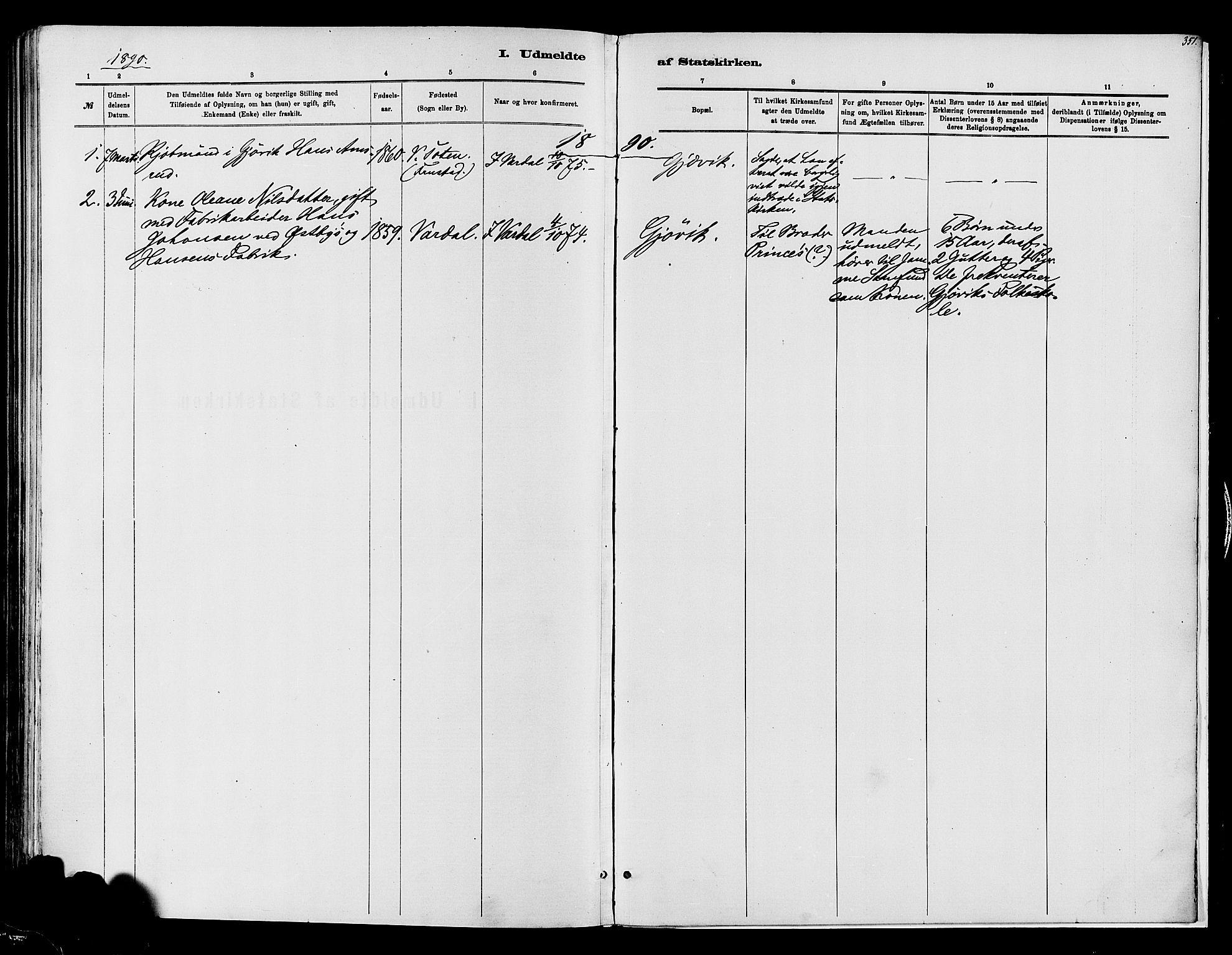 SAH, Vardal prestekontor, H/Ha/Haa/L0008: Ministerialbok nr. 8, 1878-1890, s. 351