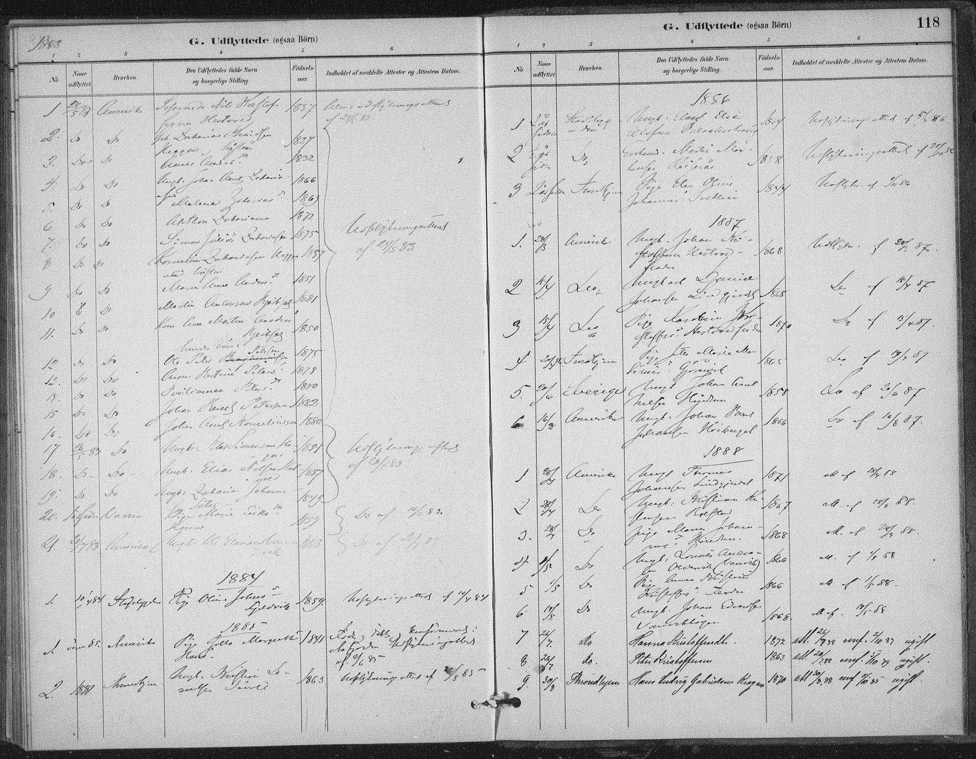 SAT, Ministerialprotokoller, klokkerbøker og fødselsregistre - Nord-Trøndelag, 702/L0023: Ministerialbok nr. 702A01, 1883-1897, s. 118