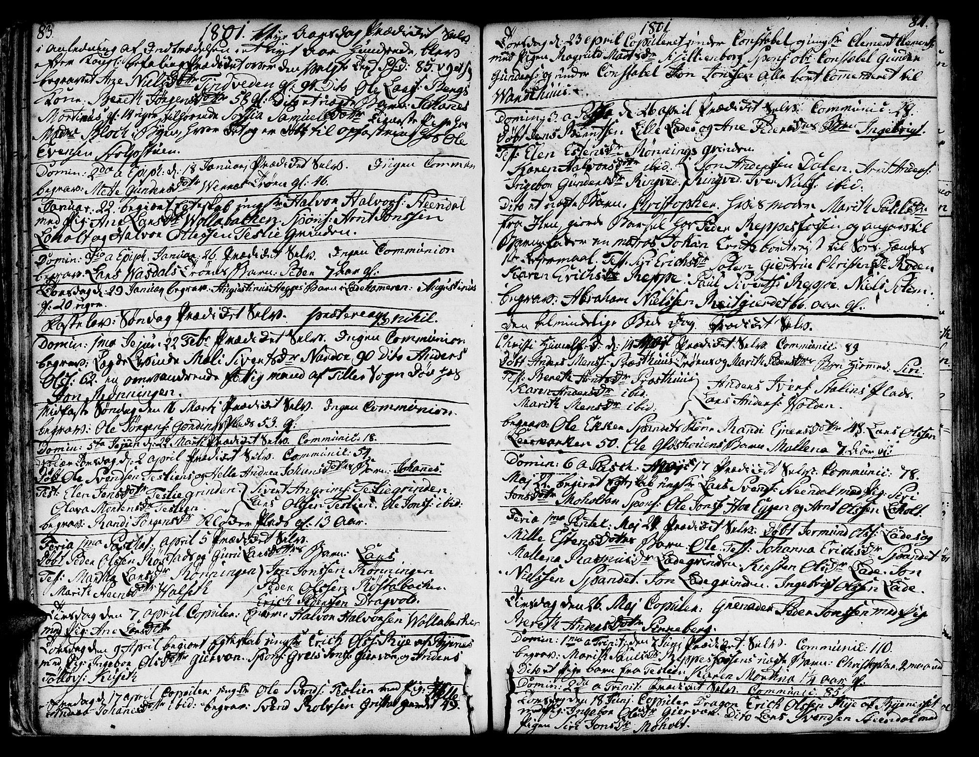 SAT, Ministerialprotokoller, klokkerbøker og fødselsregistre - Sør-Trøndelag, 606/L0280: Ministerialbok nr. 606A02 /1, 1781-1817, s. 83-84