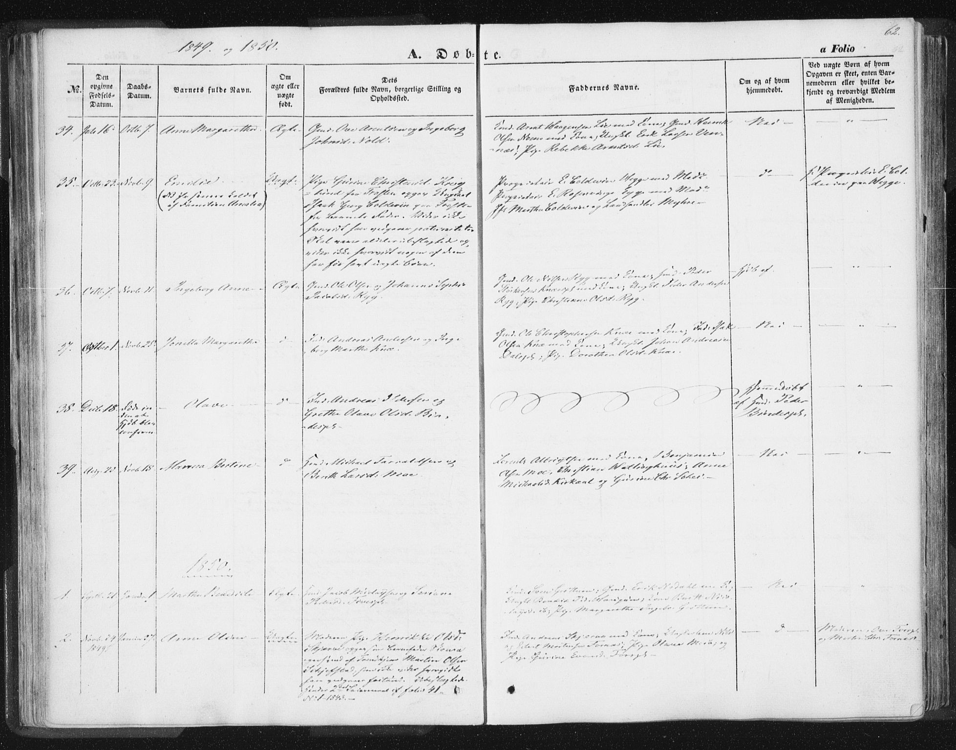 SAT, Ministerialprotokoller, klokkerbøker og fødselsregistre - Nord-Trøndelag, 746/L0446: Ministerialbok nr. 746A05, 1846-1859, s. 62