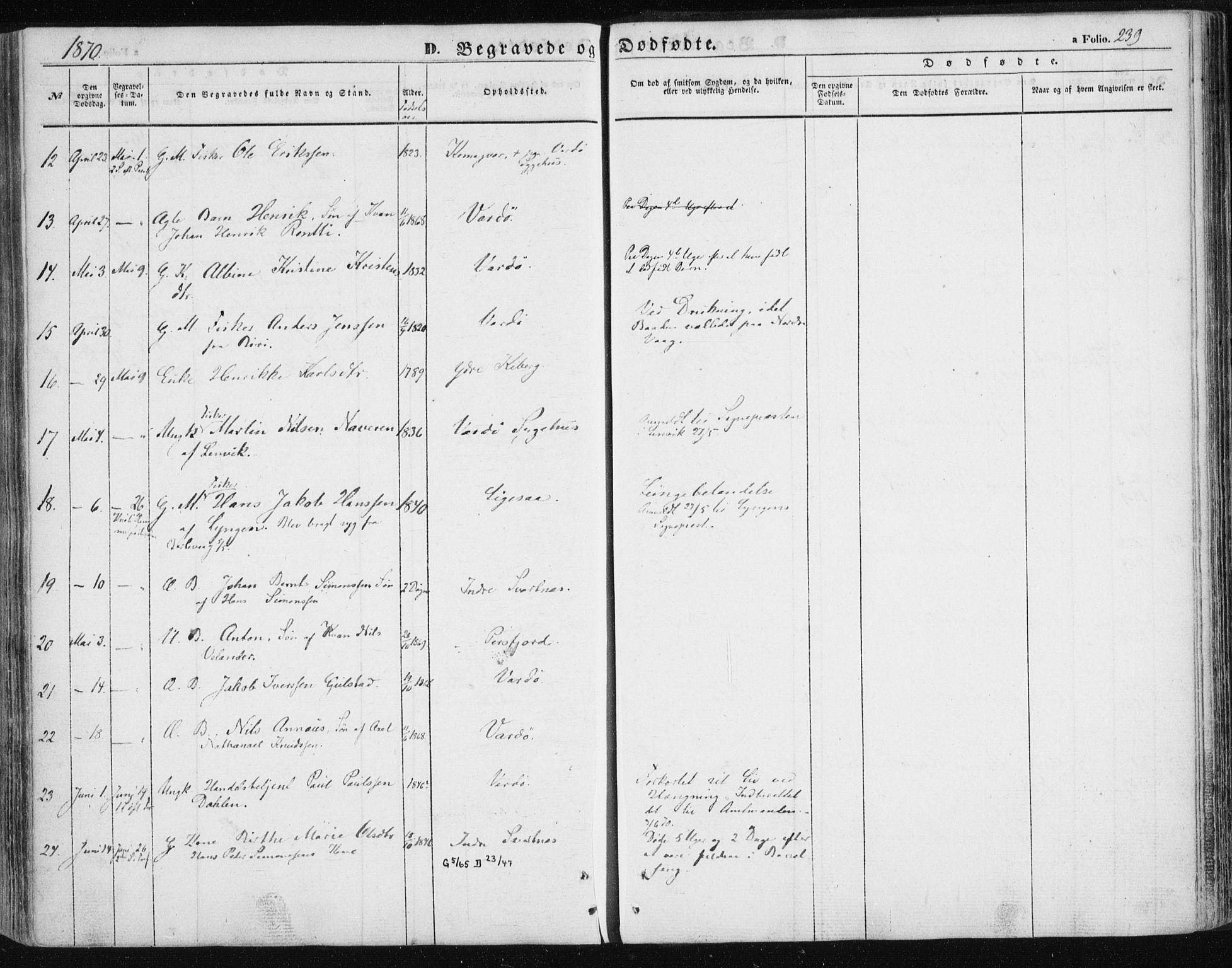 SATØ, Vardø sokneprestkontor, H/Ha/L0004kirke: Ministerialbok nr. 4, 1862-1871, s. 239