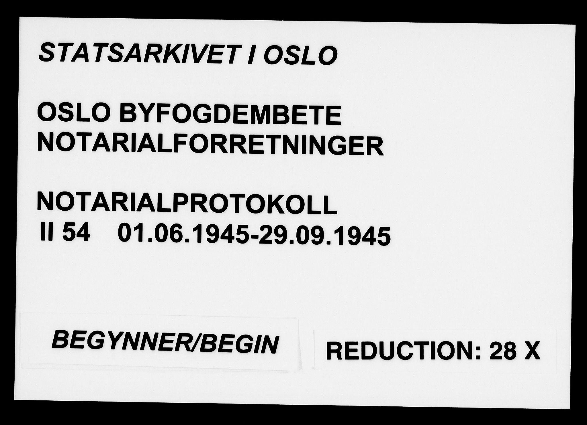 SAO, Oslo byfogd avd. I, L/Lb/Lbb/L0054: Notarialprotokoll, rekke II: Vigsler, 1945, s. upaginert