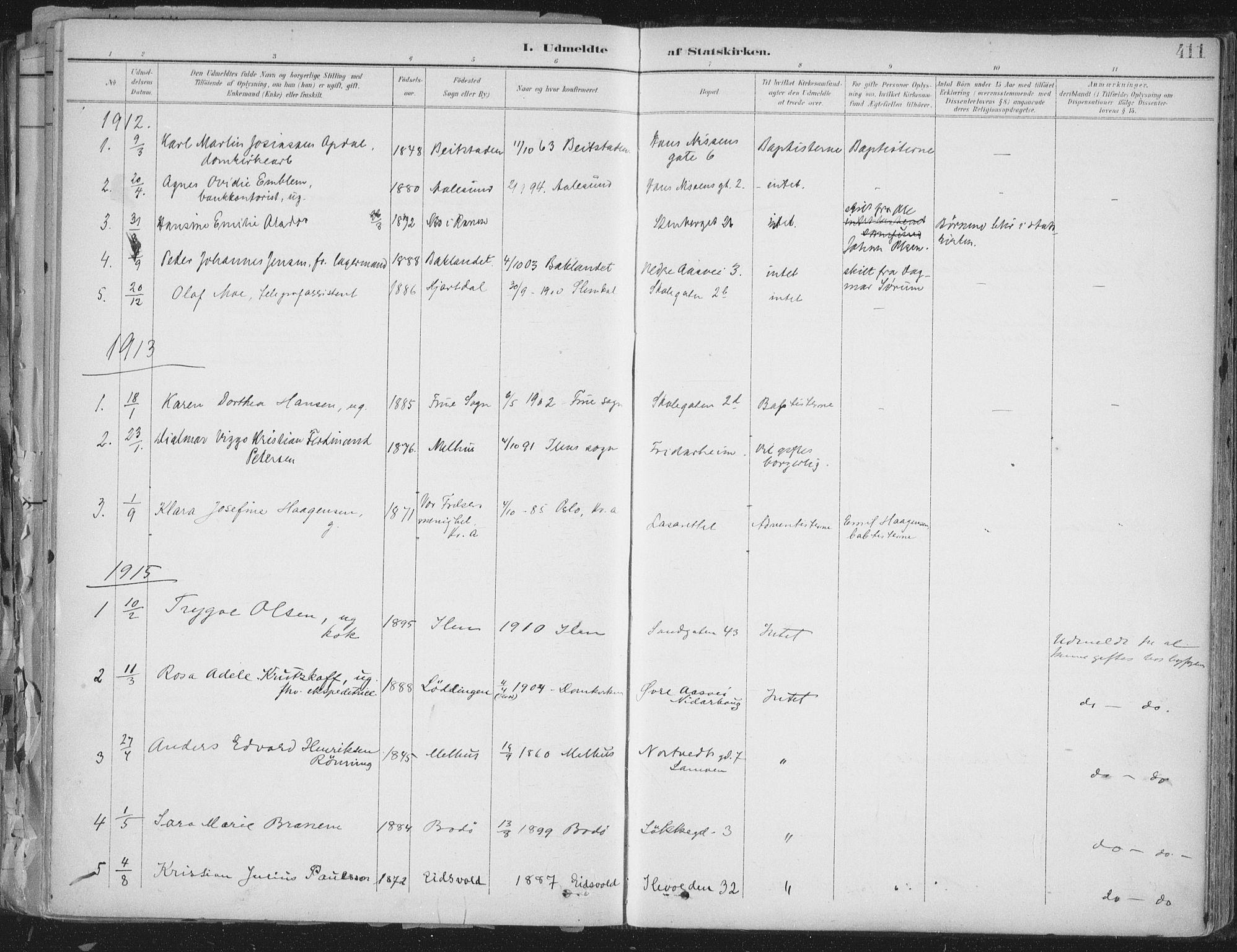 SAT, Ministerialprotokoller, klokkerbøker og fødselsregistre - Sør-Trøndelag, 603/L0167: Ministerialbok nr. 603A06, 1896-1932, s. 411