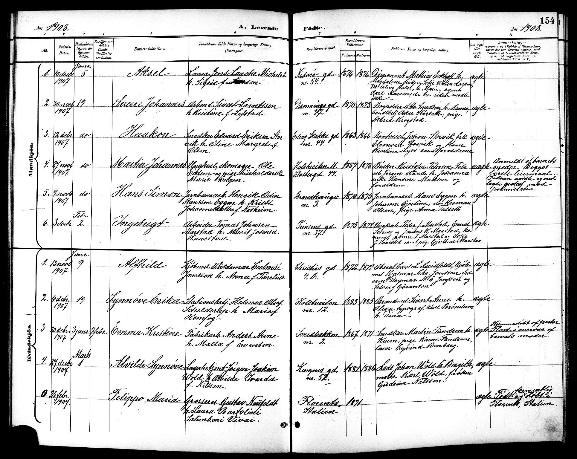 SAT, Ministerialprotokoller, klokkerbøker og fødselsregistre - Sør-Trøndelag, 601/L0094: Klokkerbok nr. 601C12, 1898-1911, s. 154