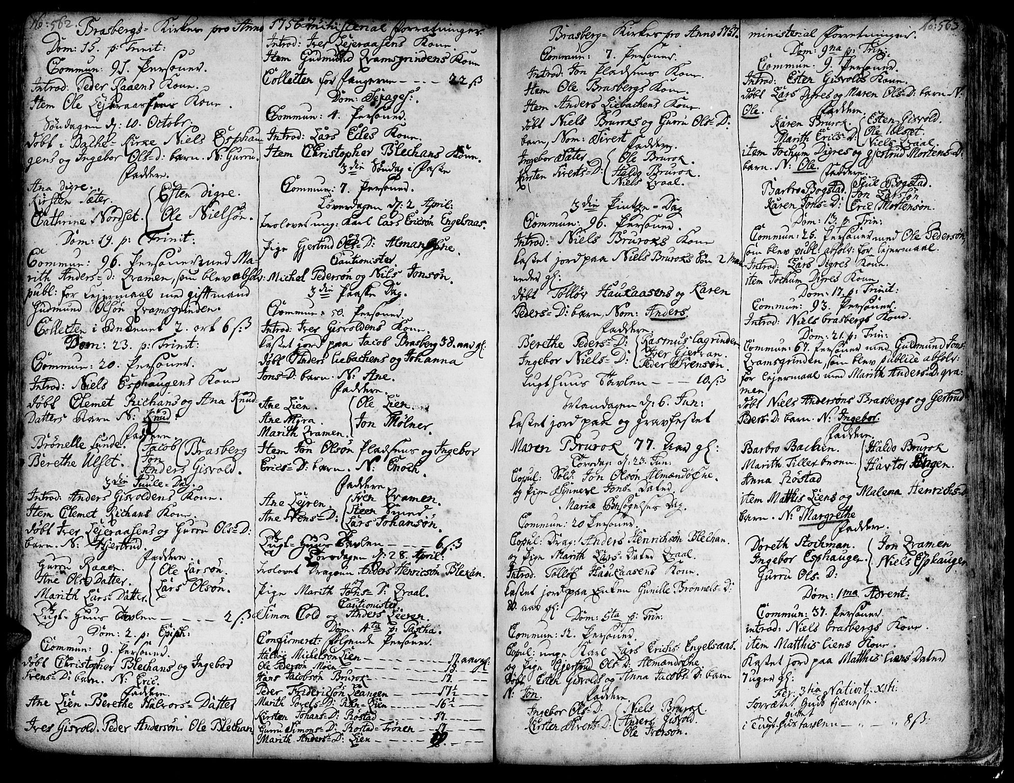 SAT, Ministerialprotokoller, klokkerbøker og fødselsregistre - Sør-Trøndelag, 606/L0278: Ministerialbok nr. 606A01 /4, 1727-1780, s. 562-563