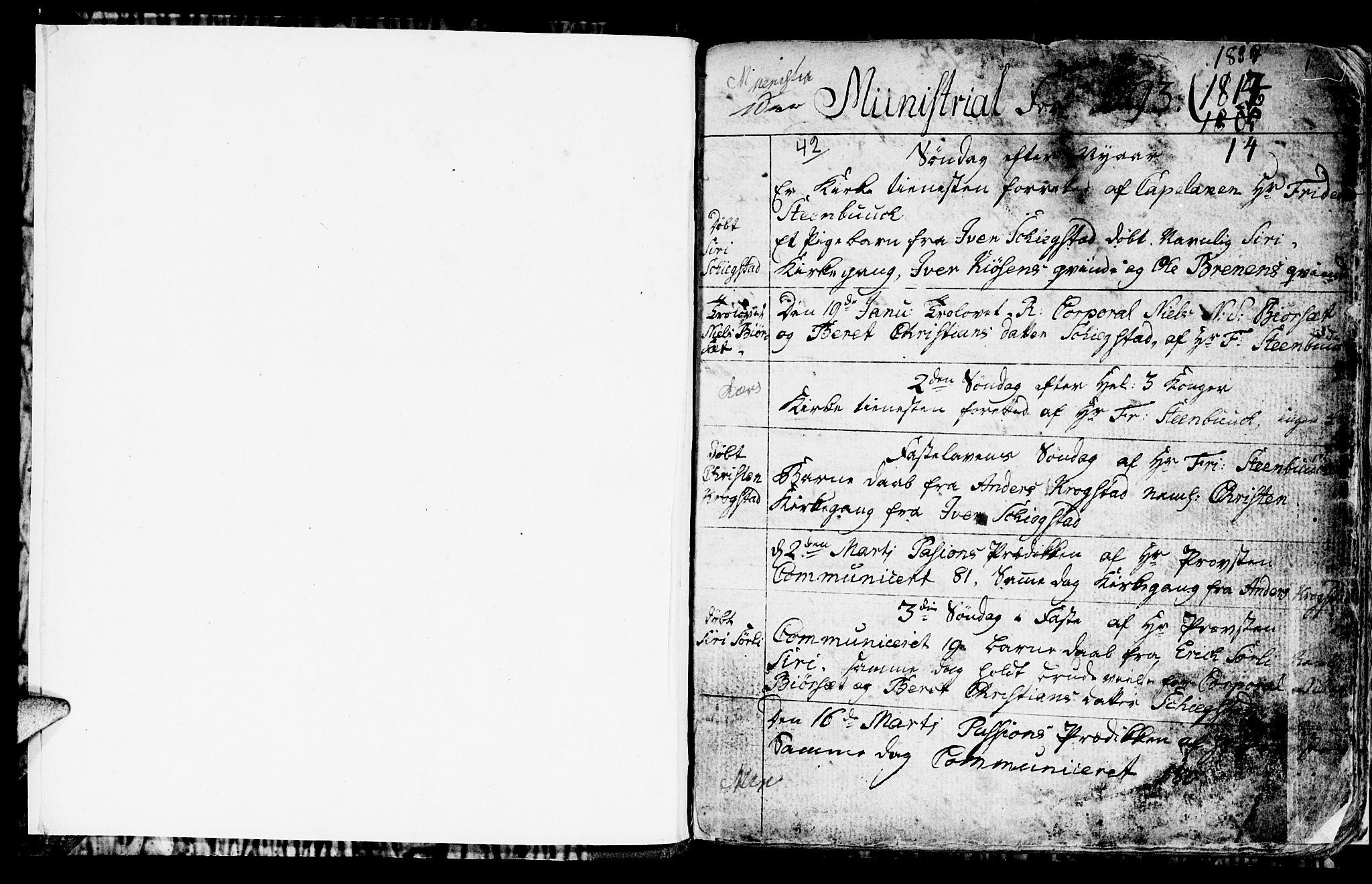 SAT, Ministerialprotokoller, klokkerbøker og fødselsregistre - Sør-Trøndelag, 694/L1129: Klokkerbok nr. 694C01, 1793-1815, s. 1
