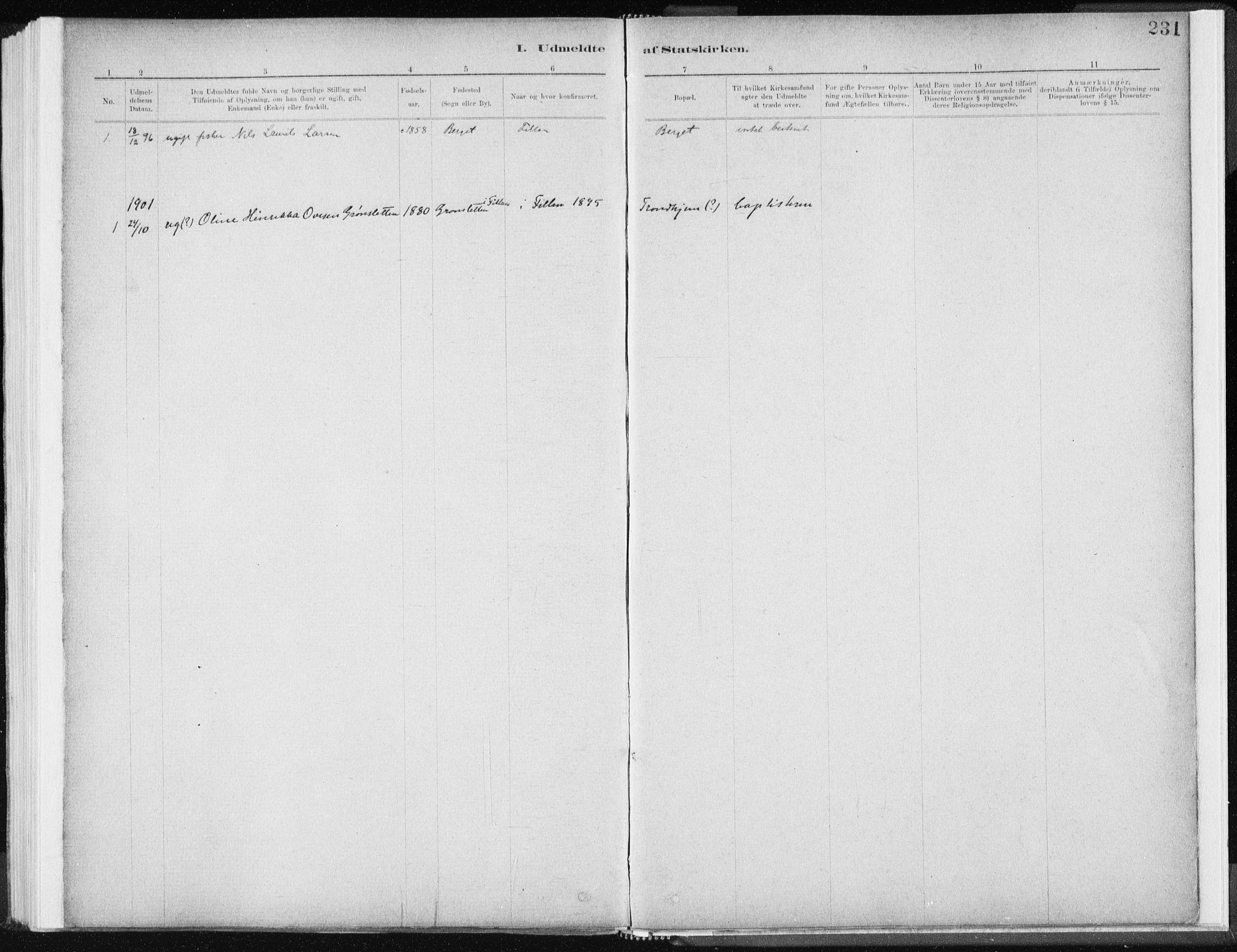 SAT, Ministerialprotokoller, klokkerbøker og fødselsregistre - Sør-Trøndelag, 637/L0558: Ministerialbok nr. 637A01, 1882-1899, s. 231