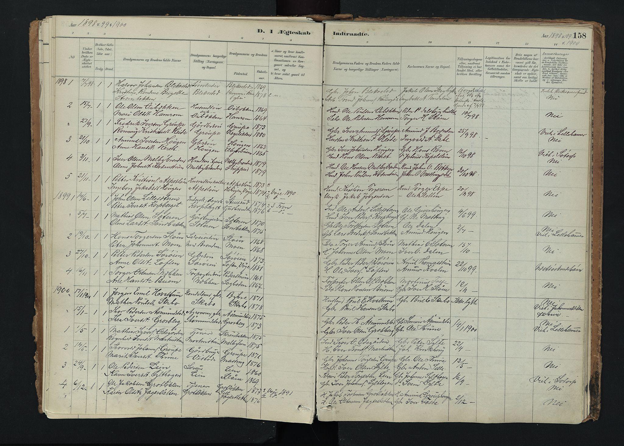 SAH, Nord-Fron prestekontor, Ministerialbok nr. 5, 1884-1914, s. 158