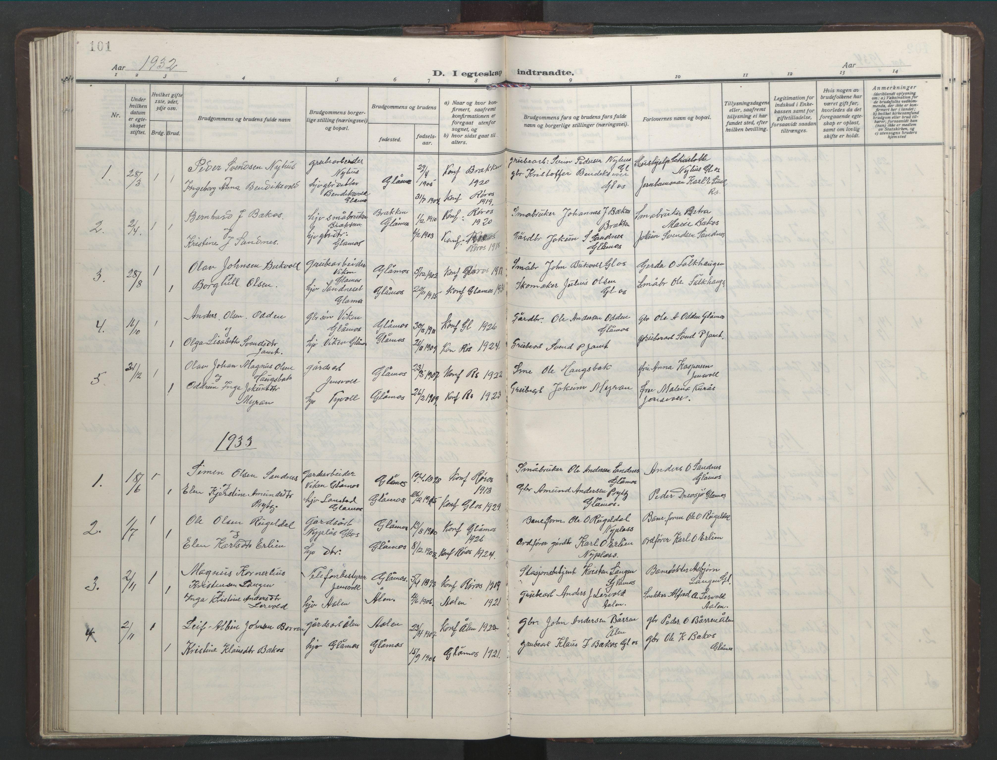 SAT, Ministerialprotokoller, klokkerbøker og fødselsregistre - Sør-Trøndelag, 682/L0947: Klokkerbok nr. 682C01, 1926-1968, s. 101