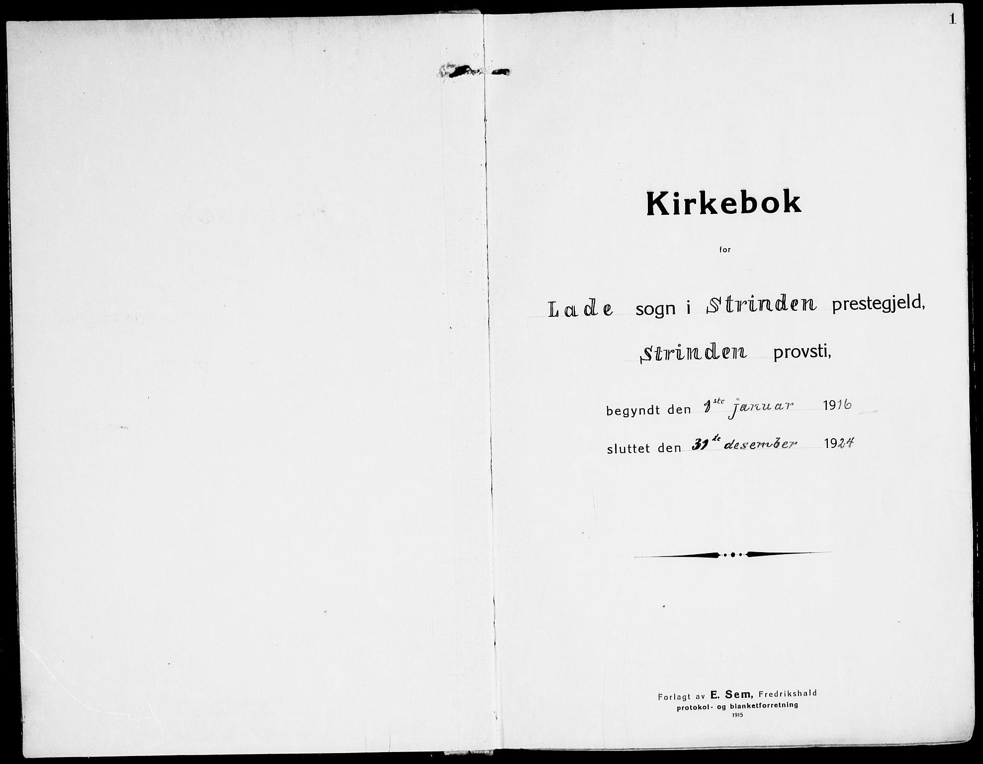 SAT, Ministerialprotokoller, klokkerbøker og fødselsregistre - Sør-Trøndelag, 607/L0321: Ministerialbok nr. 607A05, 1916-1935, s. 0-1