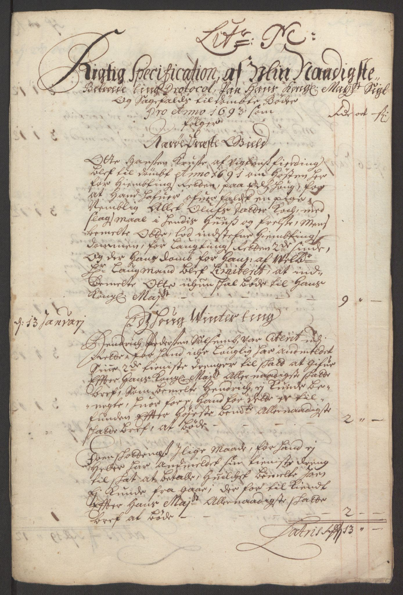 RA, Rentekammeret inntil 1814, Reviderte regnskaper, Fogderegnskap, R64/L4424: Fogderegnskap Namdal, 1692-1695, s. 306
