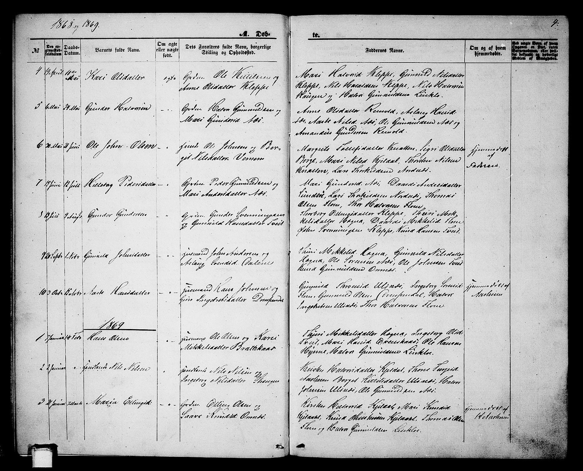 SAKO, Lunde kirkebøker, G/Gb/L0001: Klokkerbok nr. II 1, 1866-1887, s. 4