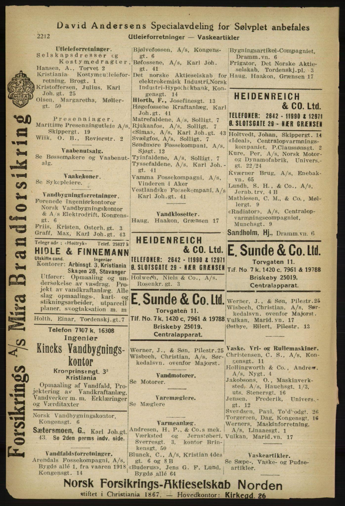 RA, Kristiania adressebok (publikasjon)*, 1918, s. 2212