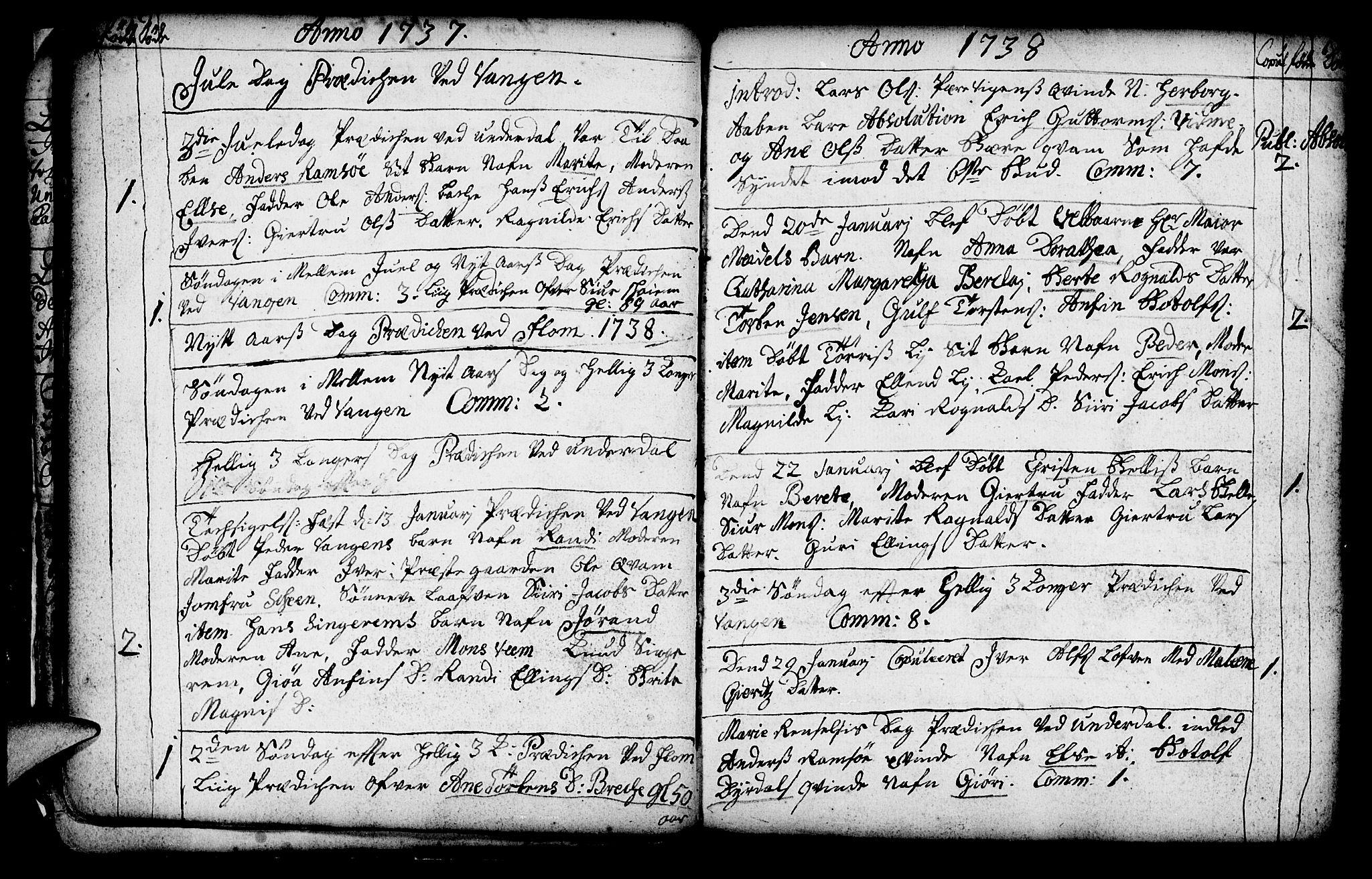 SAB, Aurland Sokneprestembete*, Ministerialbok nr. A 3, 1735-1761, s. 18