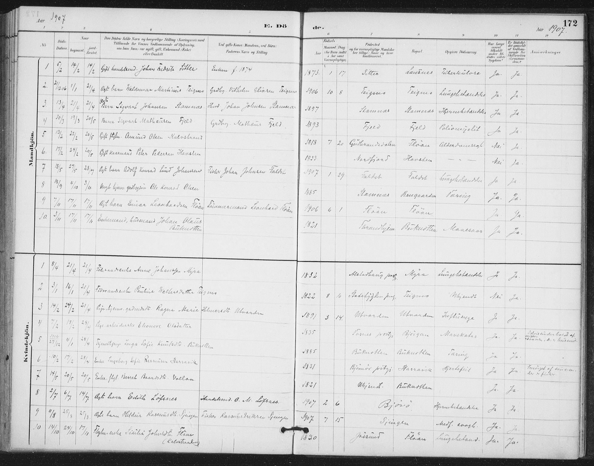 SAT, Ministerialprotokoller, klokkerbøker og fødselsregistre - Nord-Trøndelag, 772/L0603: Ministerialbok nr. 772A01, 1885-1912, s. 172