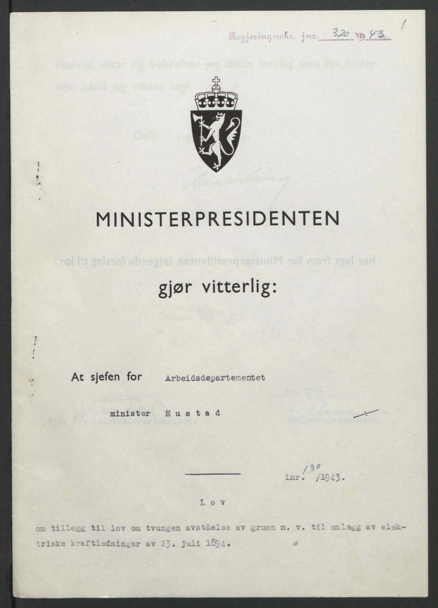 RA, NS-administrasjonen 1940-1945 (Statsrådsekretariatet, de kommisariske statsråder mm), D/Db/L0099: Lover, 1943, s. 608