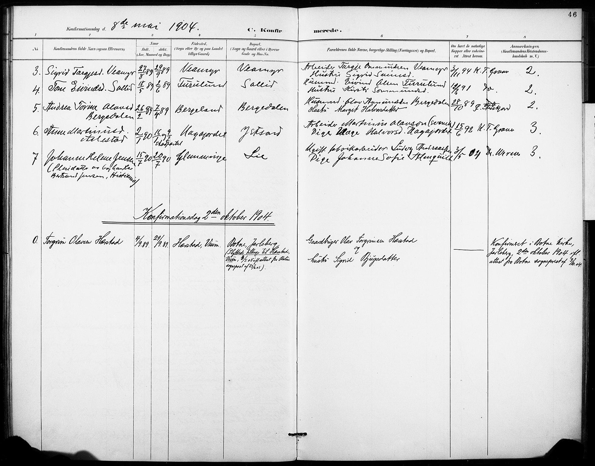SAKO, Fyresdal kirkebøker, F/Fb/L0003: Ministerialbok nr. II 3, 1887-1903, s. 46