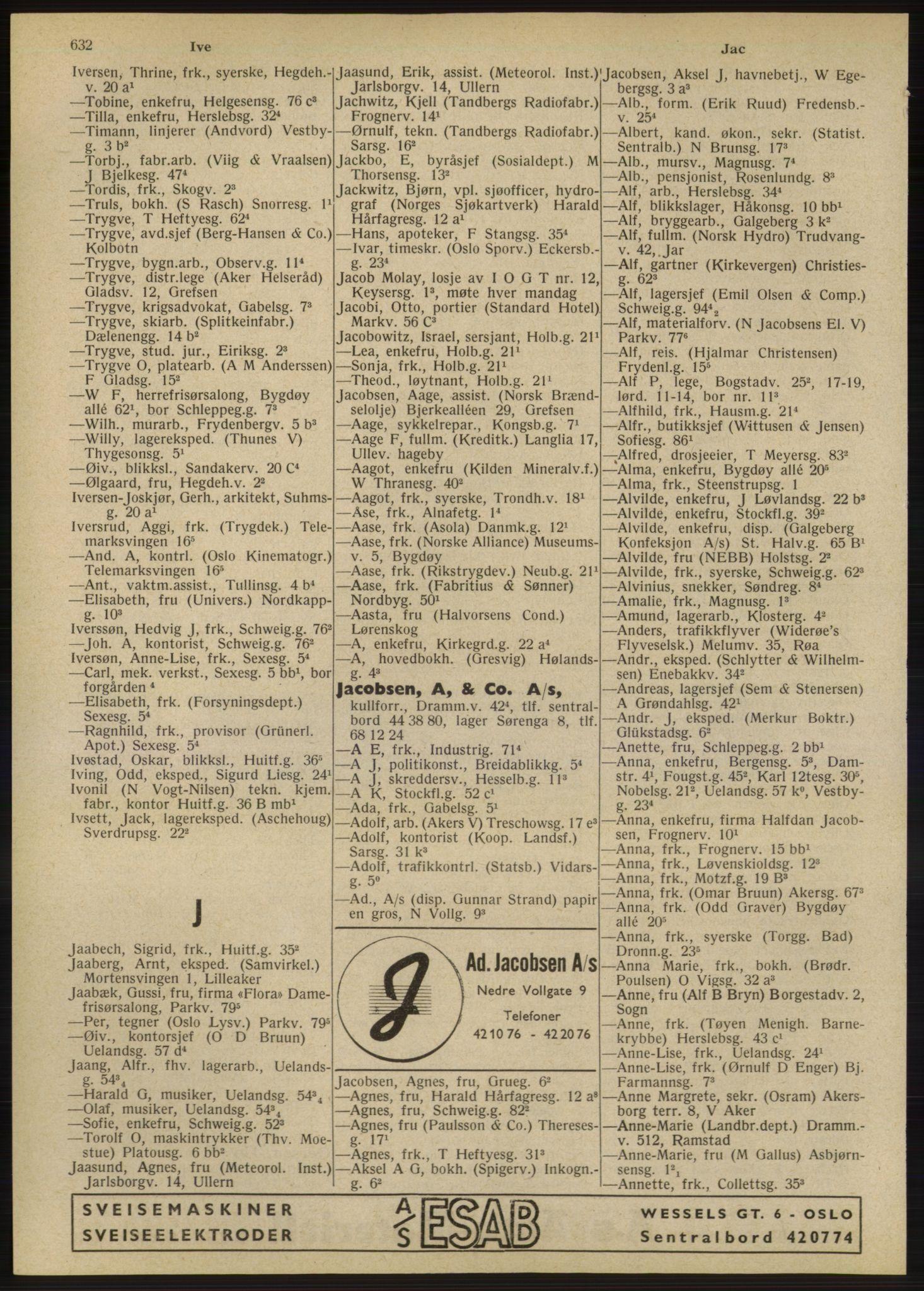 RA, Oslo adressebok (publikasjon)*, 1947, s. 632