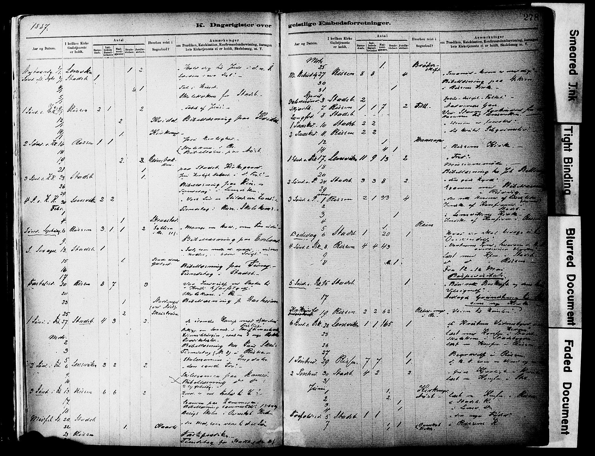 SAT, Ministerialprotokoller, klokkerbøker og fødselsregistre - Sør-Trøndelag, 646/L0615: Ministerialbok nr. 646A13, 1885-1900, s. 278