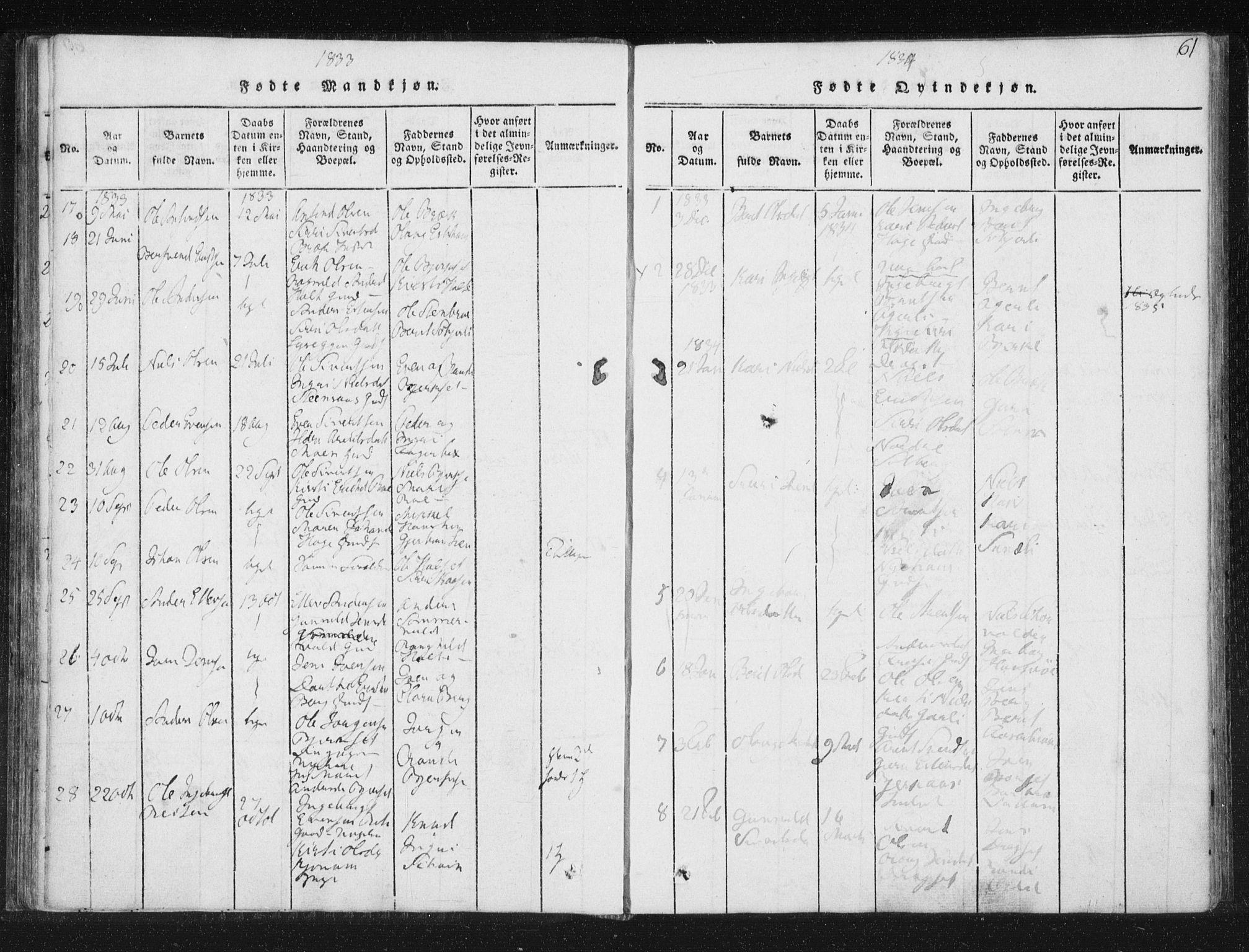 SAT, Ministerialprotokoller, klokkerbøker og fødselsregistre - Sør-Trøndelag, 689/L1037: Ministerialbok nr. 689A02, 1816-1842, s. 61