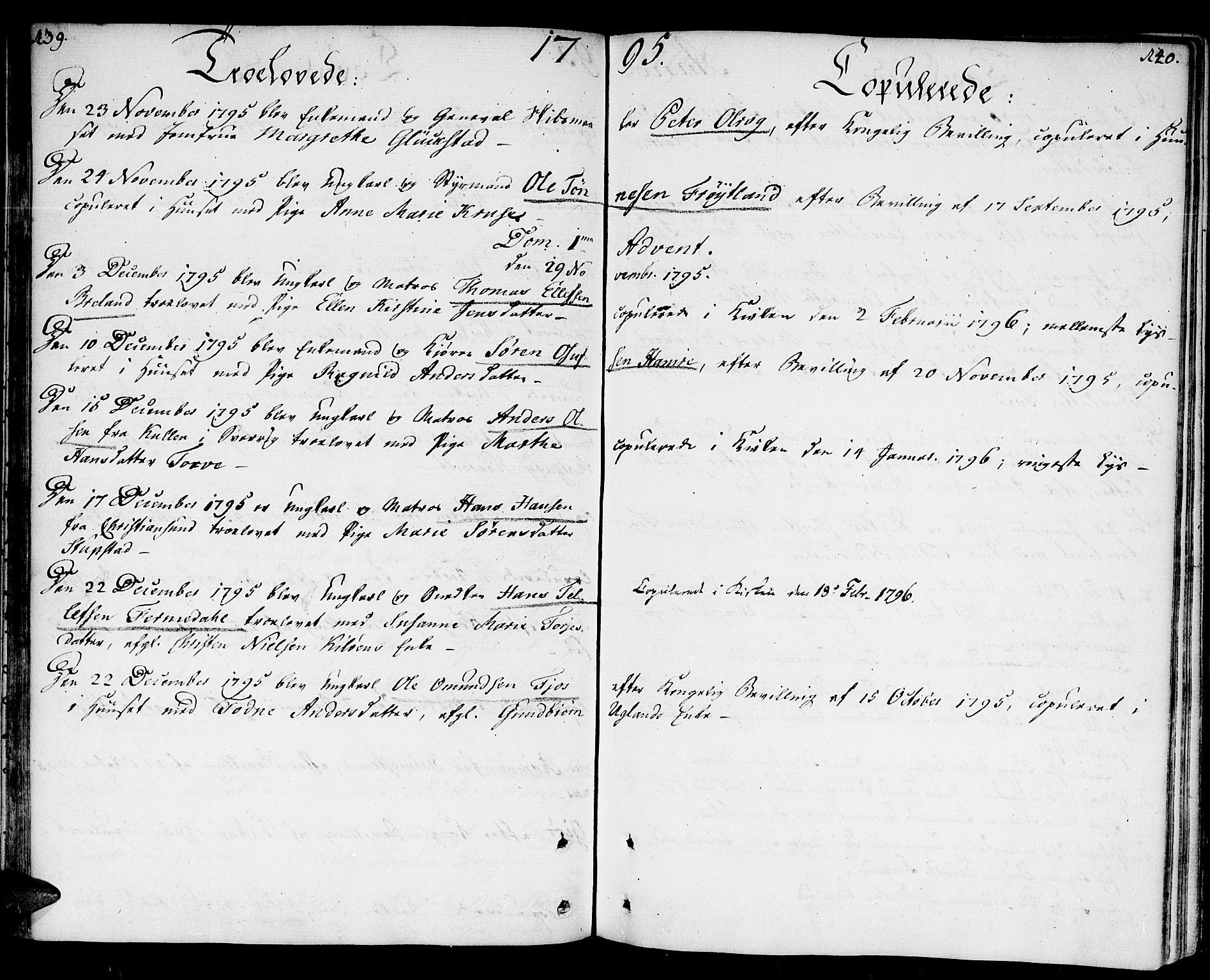 SAK, Kristiansand domprosti, F/Fa/L0005: Ministerialbok nr. A 5, 1776-1818, s. 139-140