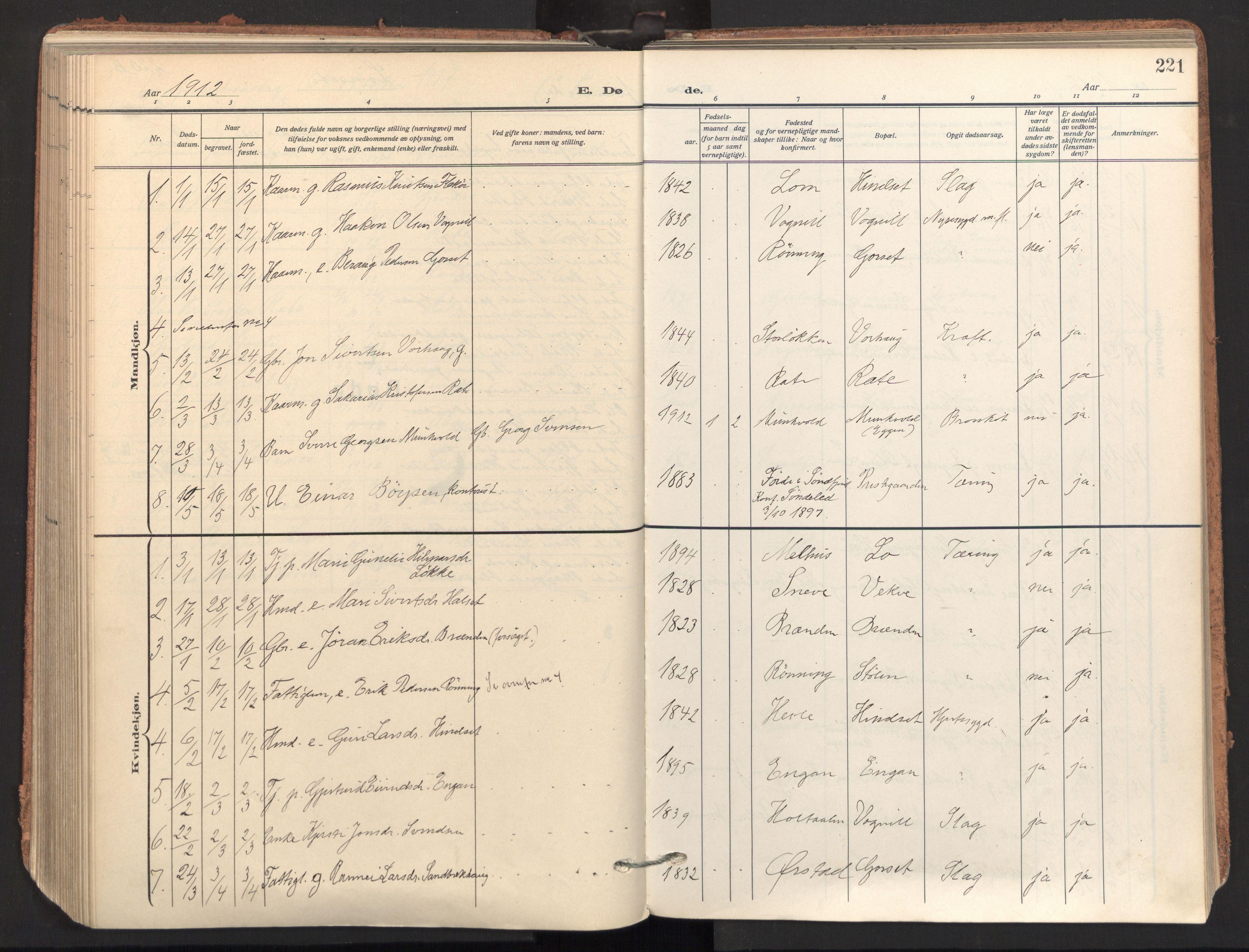 SAT, Ministerialprotokoller, klokkerbøker og fødselsregistre - Sør-Trøndelag, 678/L0909: Ministerialbok nr. 678A17, 1912-1930, s. 221