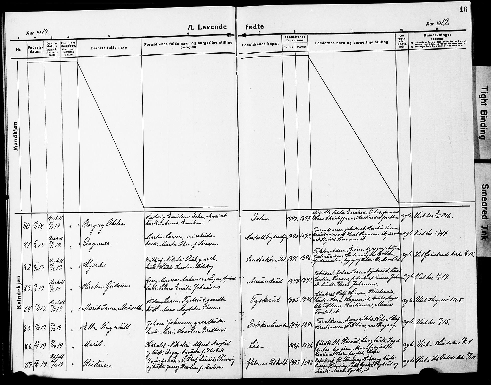 SAO, Eidsvoll prestekontor Kirkebøker, G/Ga/L0010: Klokkerbok nr. I 10, 1919-1929, s. 16