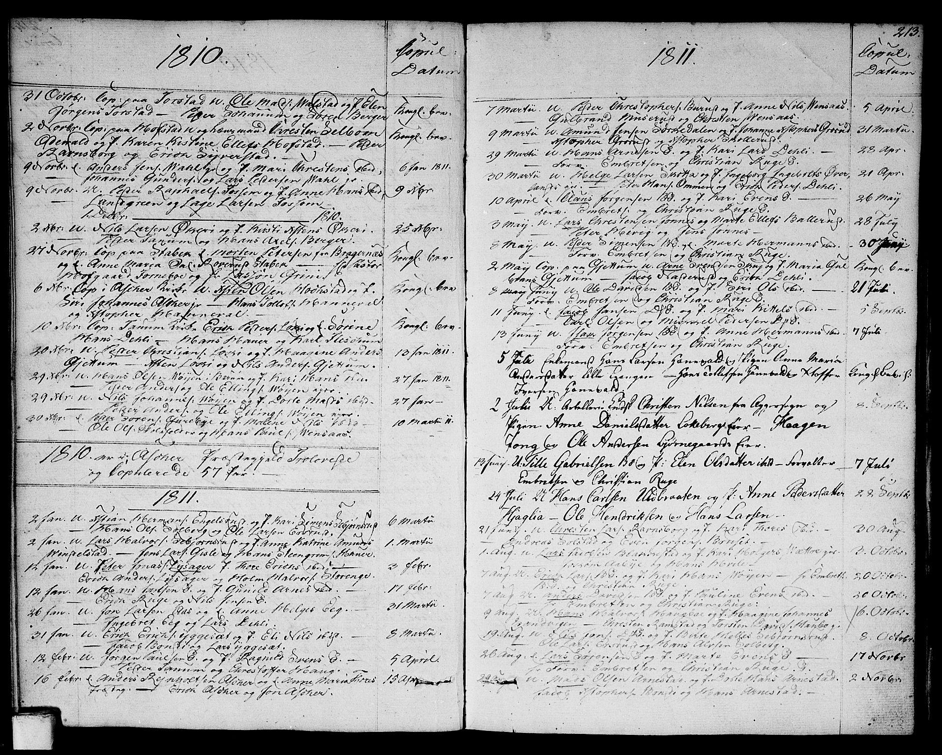 SAO, Asker prestekontor Kirkebøker, F/Fa/L0005: Ministerialbok nr. I 5, 1807-1813, s. 213
