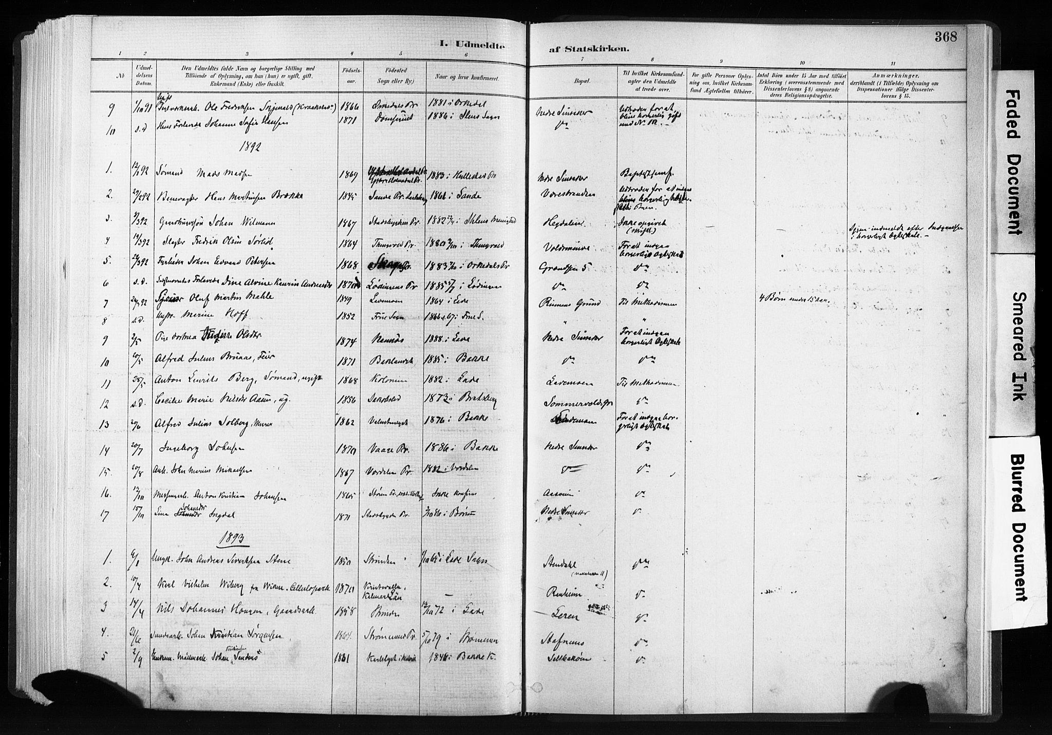 SAT, Ministerialprotokoller, klokkerbøker og fødselsregistre - Sør-Trøndelag, 606/L0300: Ministerialbok nr. 606A15, 1886-1893, s. 368