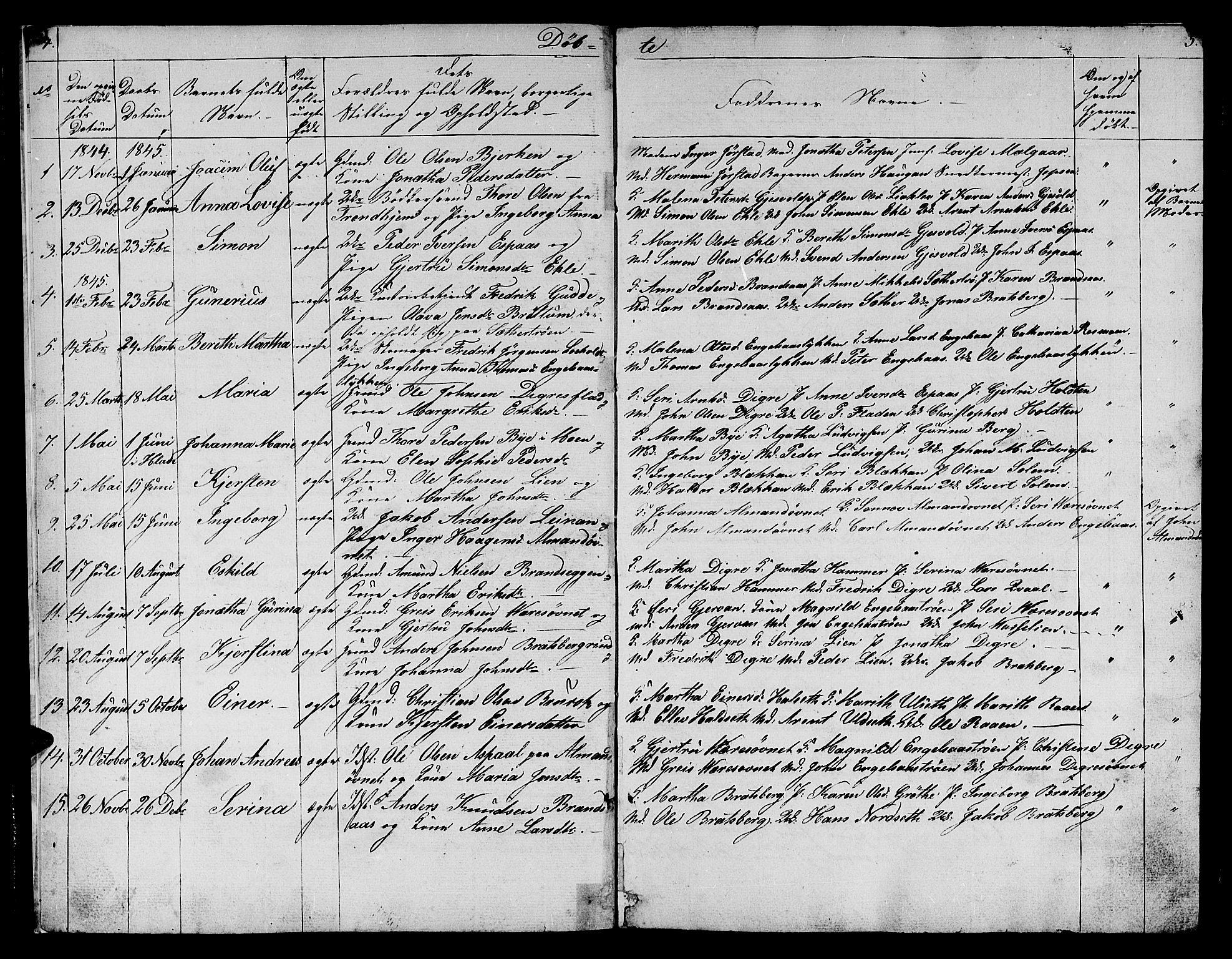 SAT, Ministerialprotokoller, klokkerbøker og fødselsregistre - Sør-Trøndelag, 608/L0339: Klokkerbok nr. 608C05, 1844-1863, s. 4-5