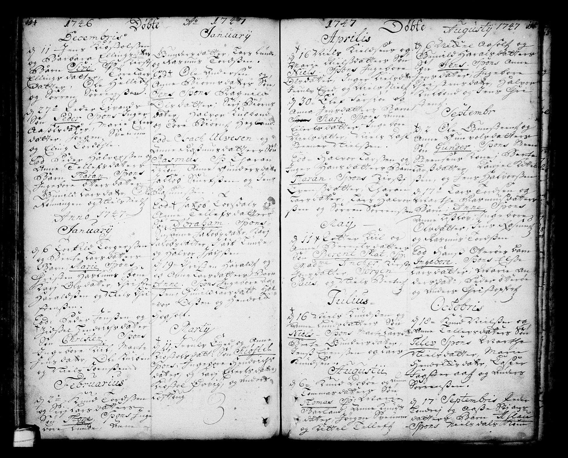 SAKO, Sannidal kirkebøker, F/Fa/L0001: Ministerialbok nr. 1, 1702-1766, s. 194-195
