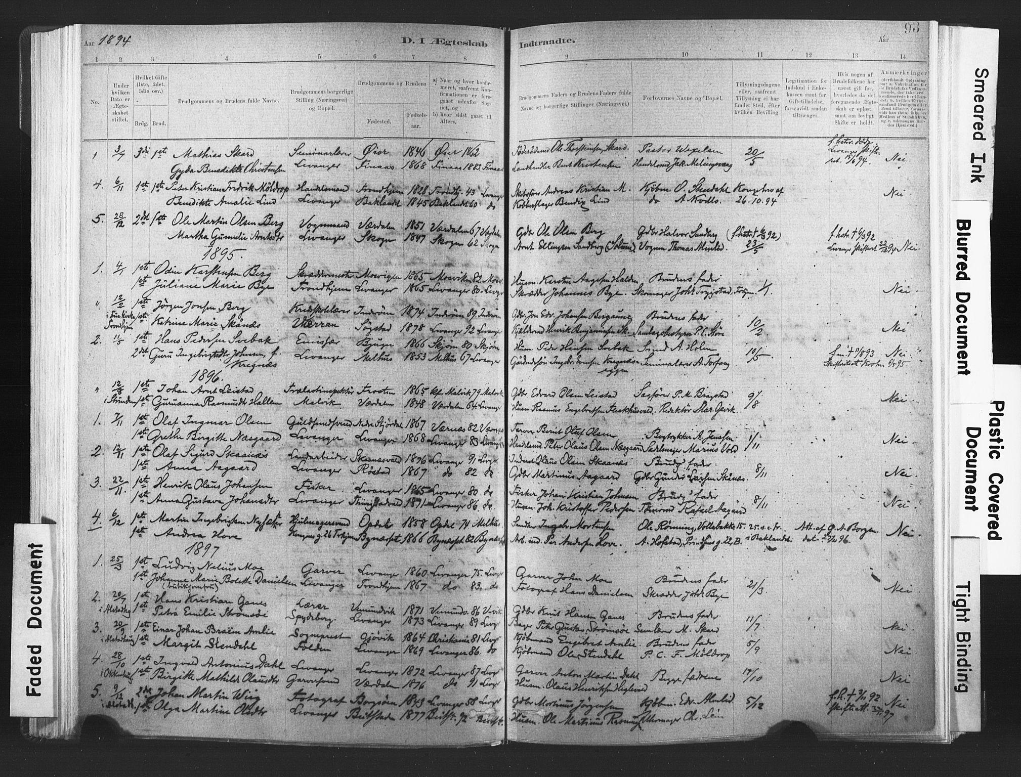 SAT, Ministerialprotokoller, klokkerbøker og fødselsregistre - Nord-Trøndelag, 720/L0189: Ministerialbok nr. 720A05, 1880-1911, s. 93
