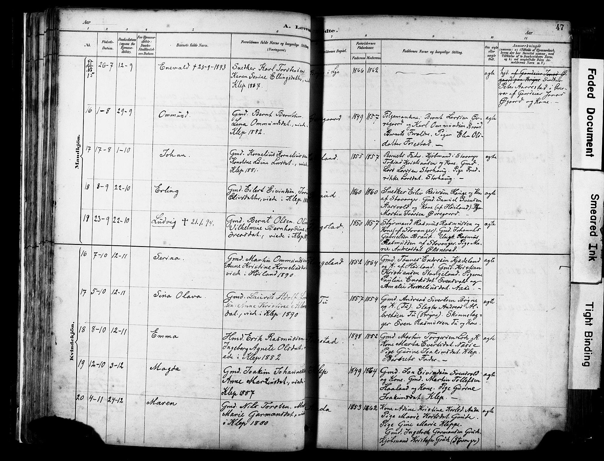 SAST, Klepp sokneprestkontor, 30BA/L0009: Ministerialbok nr. A 7, 1886-1915, s. 47