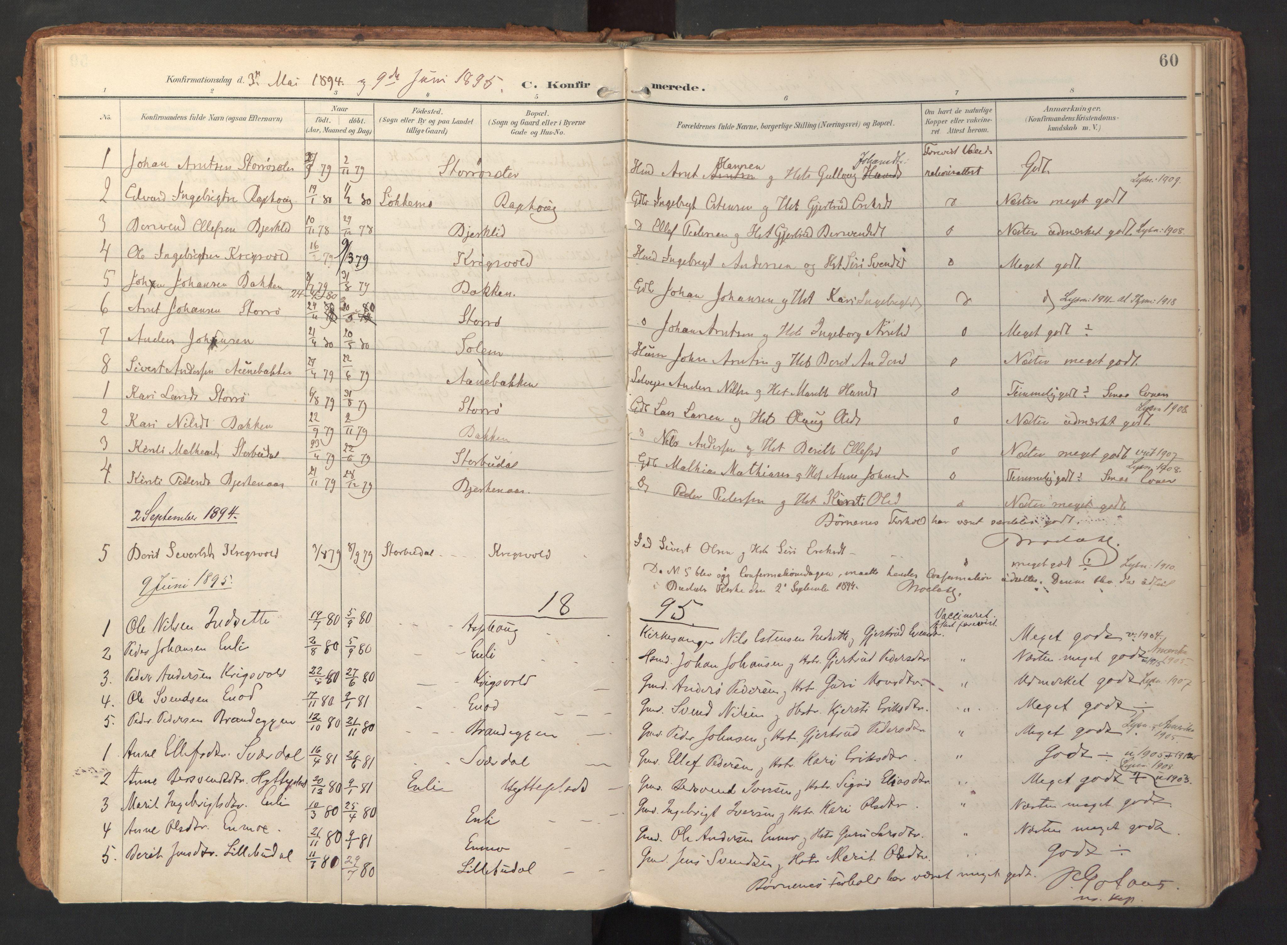 SAT, Ministerialprotokoller, klokkerbøker og fødselsregistre - Sør-Trøndelag, 690/L1050: Ministerialbok nr. 690A01, 1889-1929, s. 60