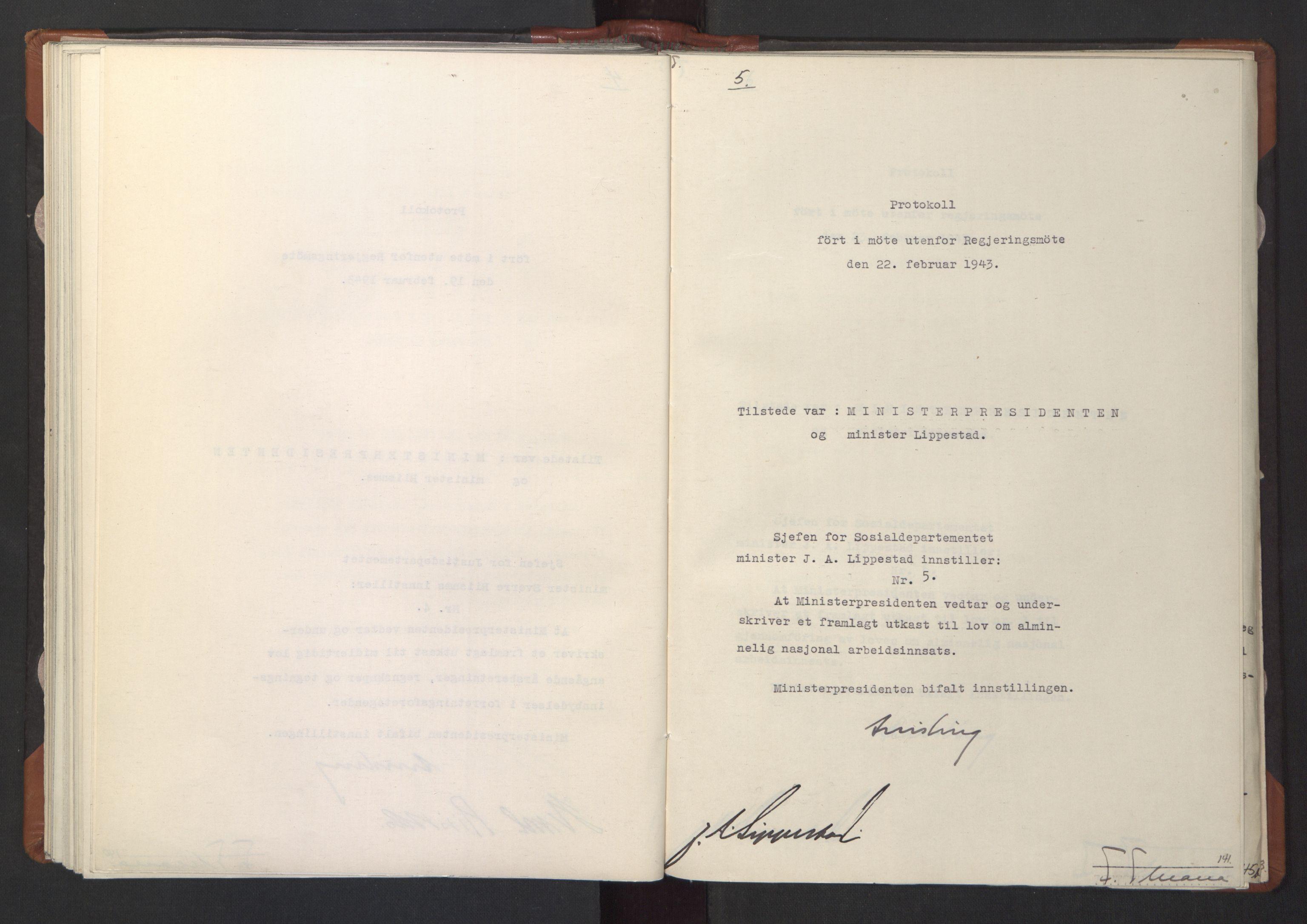 RA, NS-administrasjonen 1940-1945 (Statsrådsekretariatet, de kommisariske statsråder mm), D/Da/L0003: Vedtak (Beslutninger) nr. 1-746 og tillegg nr. 1-47 (RA. j.nr. 1394/1944, tilgangsnr. 8/1944, 1943, s. 140b-141a