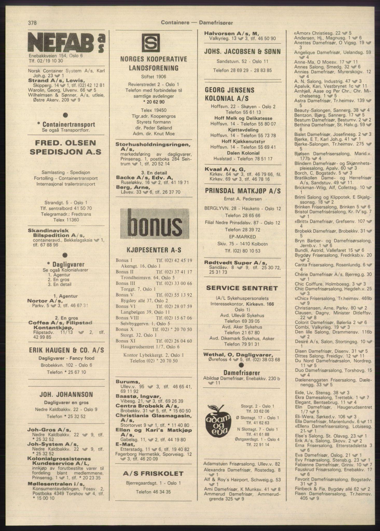 PUBL, Kristiania/Oslo adressebok, 1980-1981, s. 378