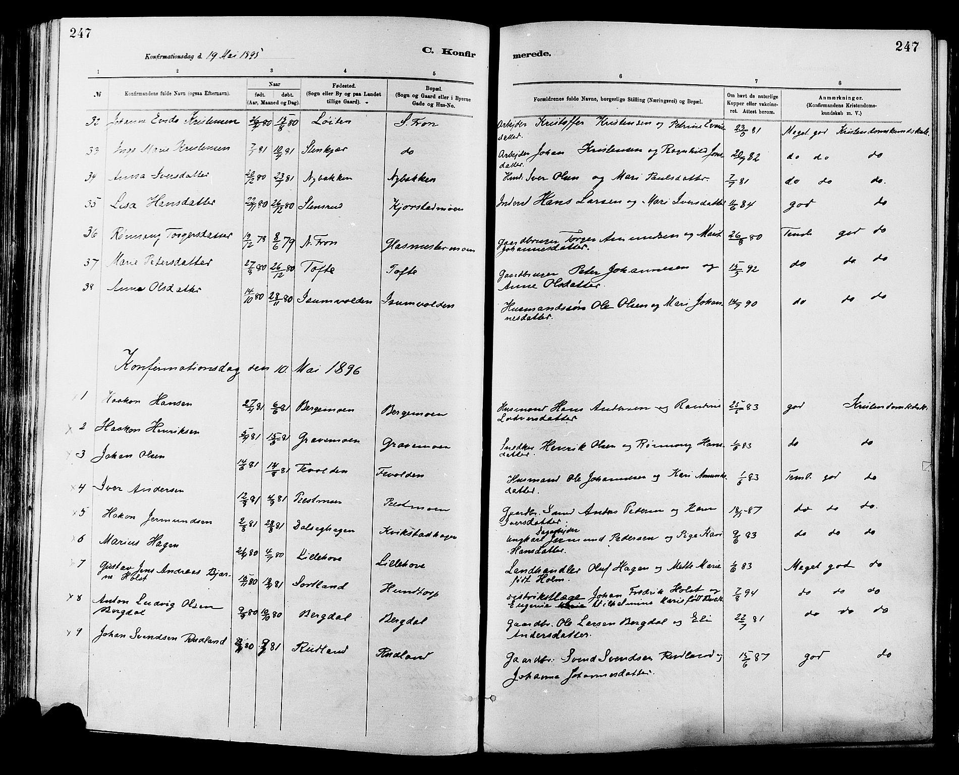 SAH, Sør-Fron prestekontor, H/Ha/Haa/L0003: Ministerialbok nr. 3, 1881-1897, s. 247